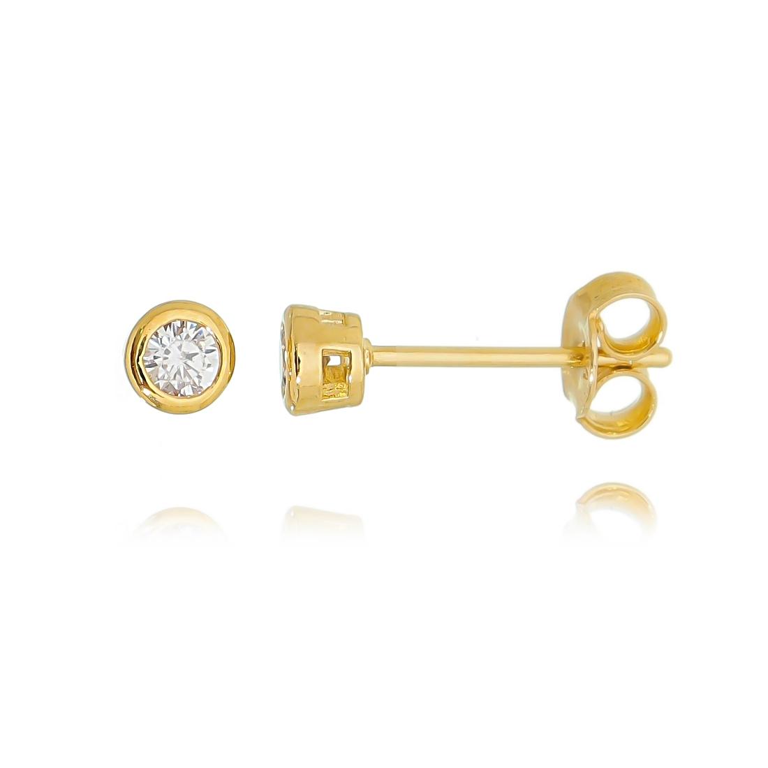 Brinco Ponto de Luz 3 mm Cravação Inglesa Zircônia Cristal Semijoia Ouro  - Soloyou
