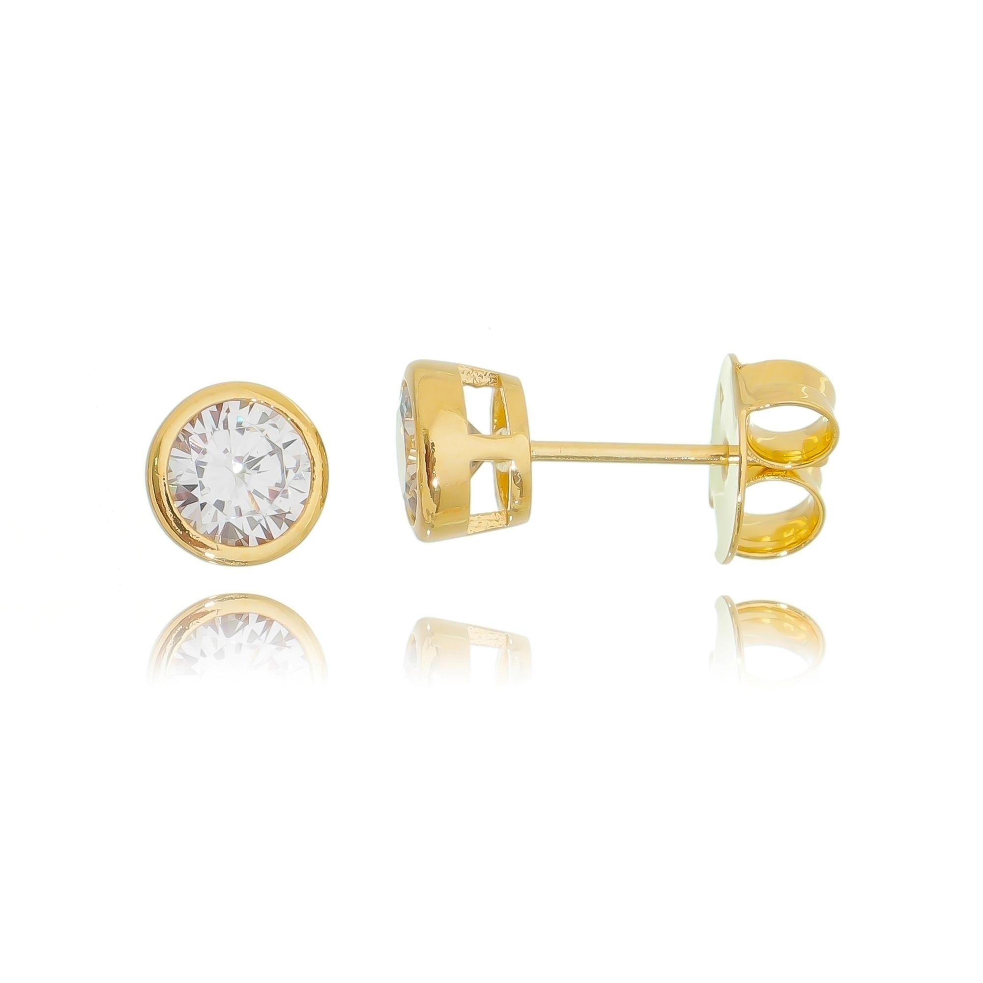 Brinco Ponto de Luz Cravação Inglesa de Zircônia Cristal 6 mm Semijoia Ouro  - Soloyou