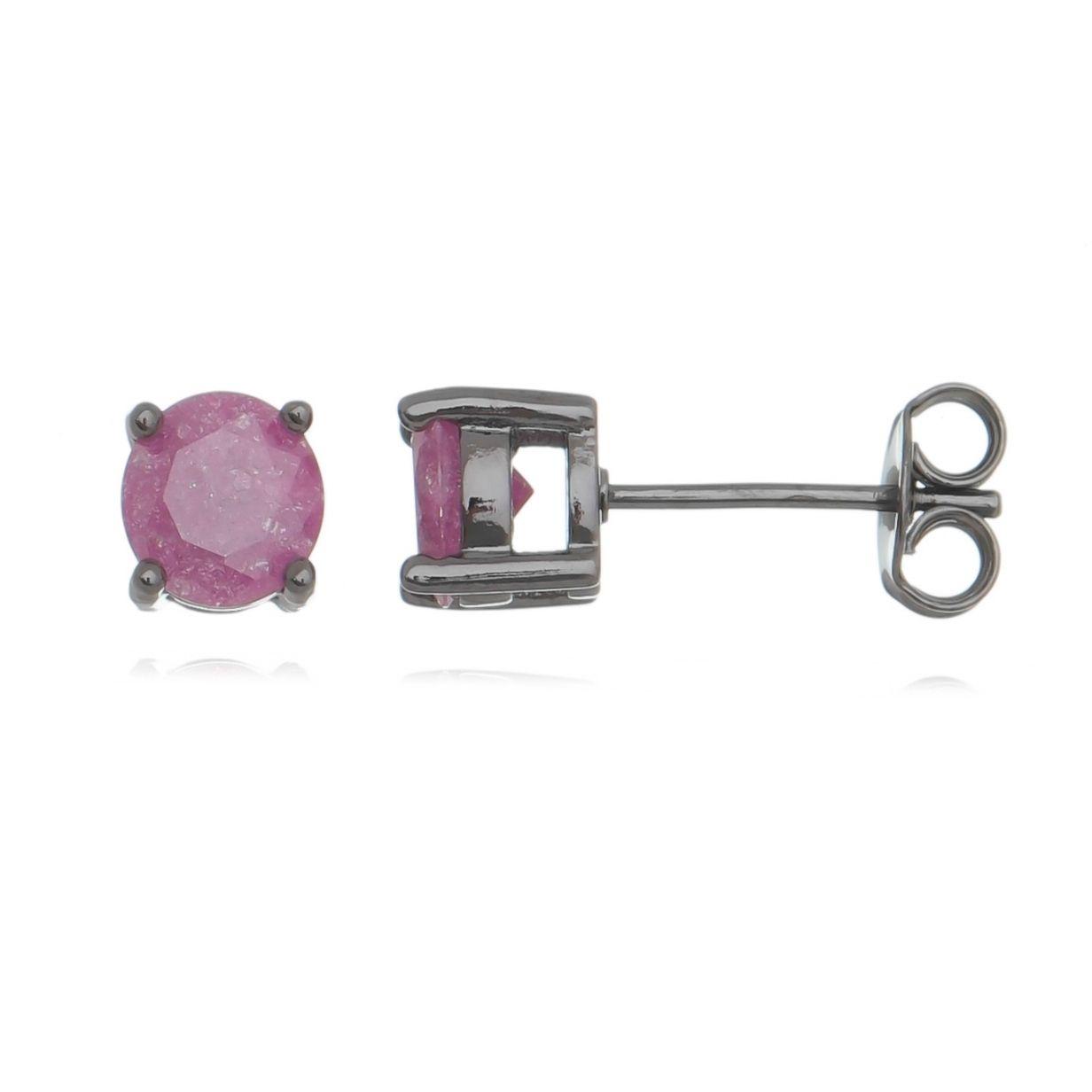 Brinco Ponto de Luz Rosa Pink Fusion Semijoia Delicada Ródio Negro  - Soloyou