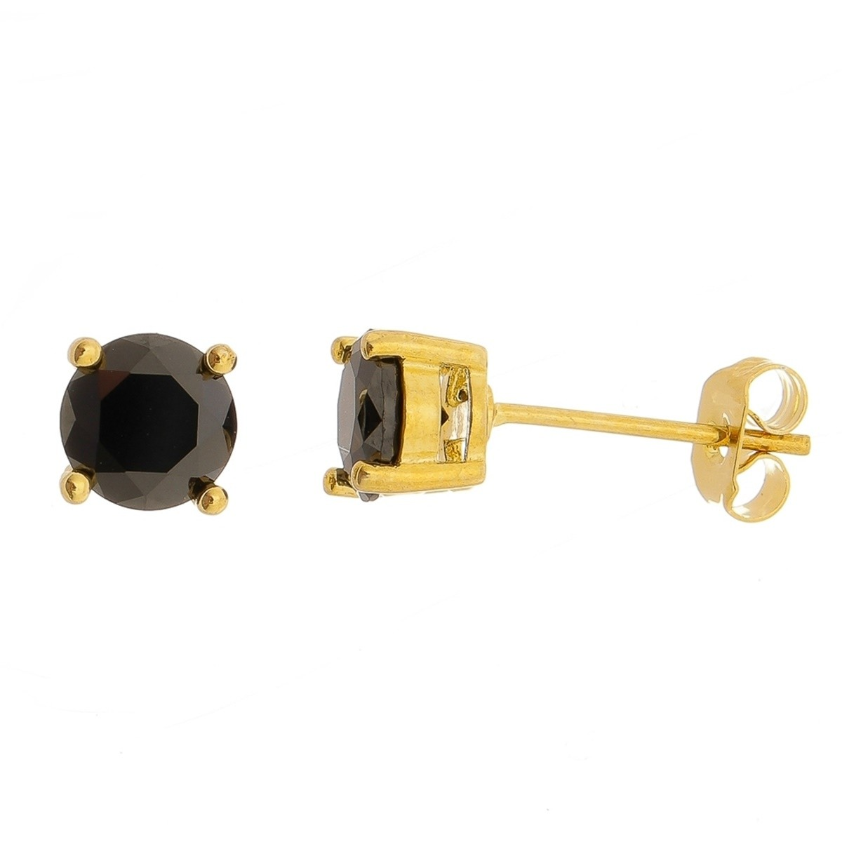 Brinco Preto Segundo Furo 6 mm Semijoia em Ouro 18K com Zircônia  - SOLOYOU