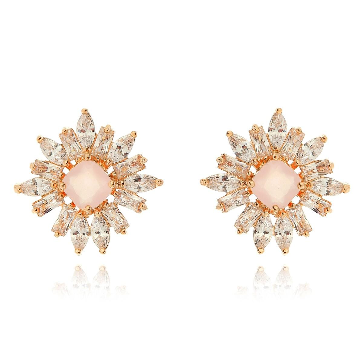 Brinco Quartzo Rosa Quadrado Semijoia em Ouro Rosé 18K com Zircônia Branca Brilhante  - Soloyou