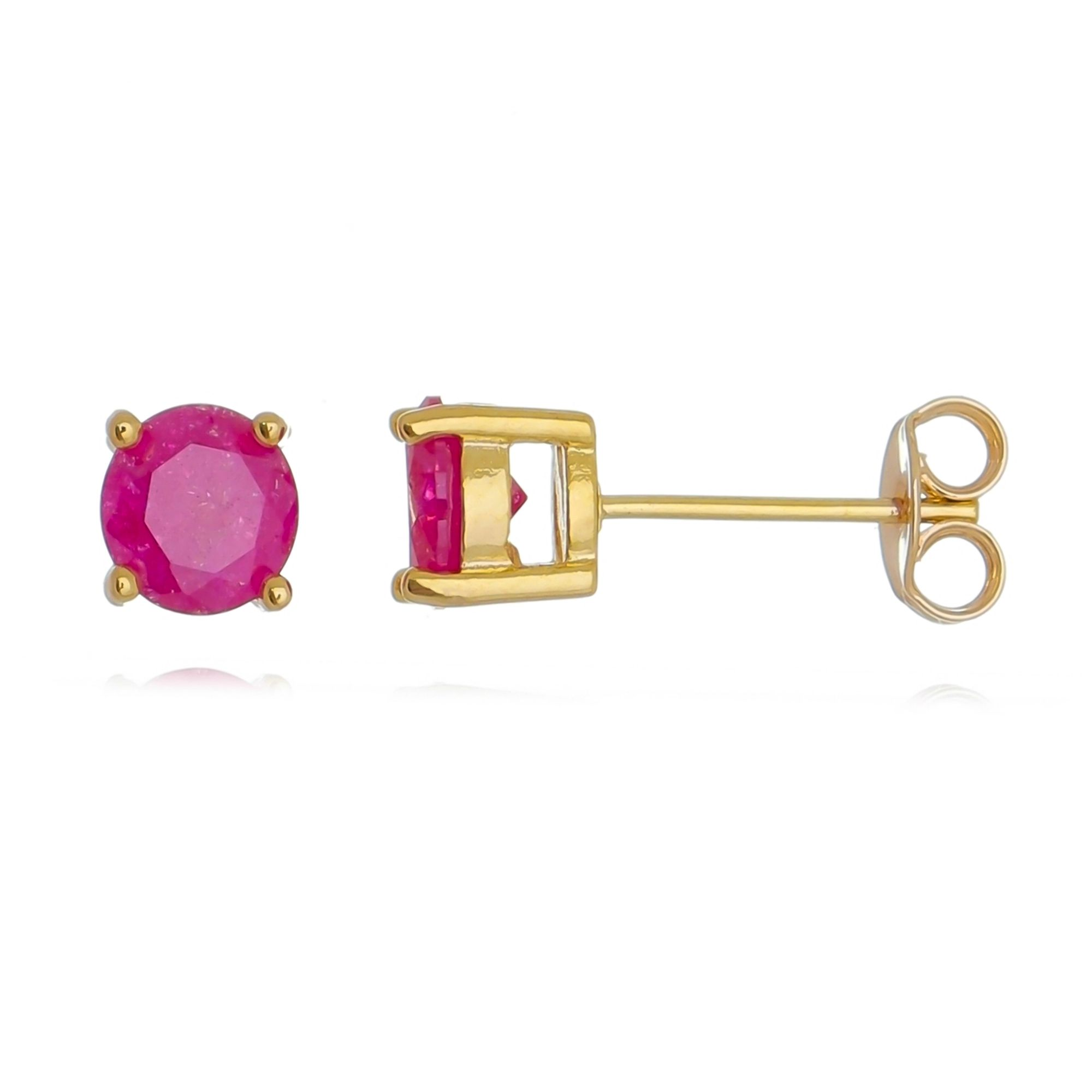 Brinco Redondo Rosa Fusion Dourado Semijoia Banho de Ouro  - Soloyou