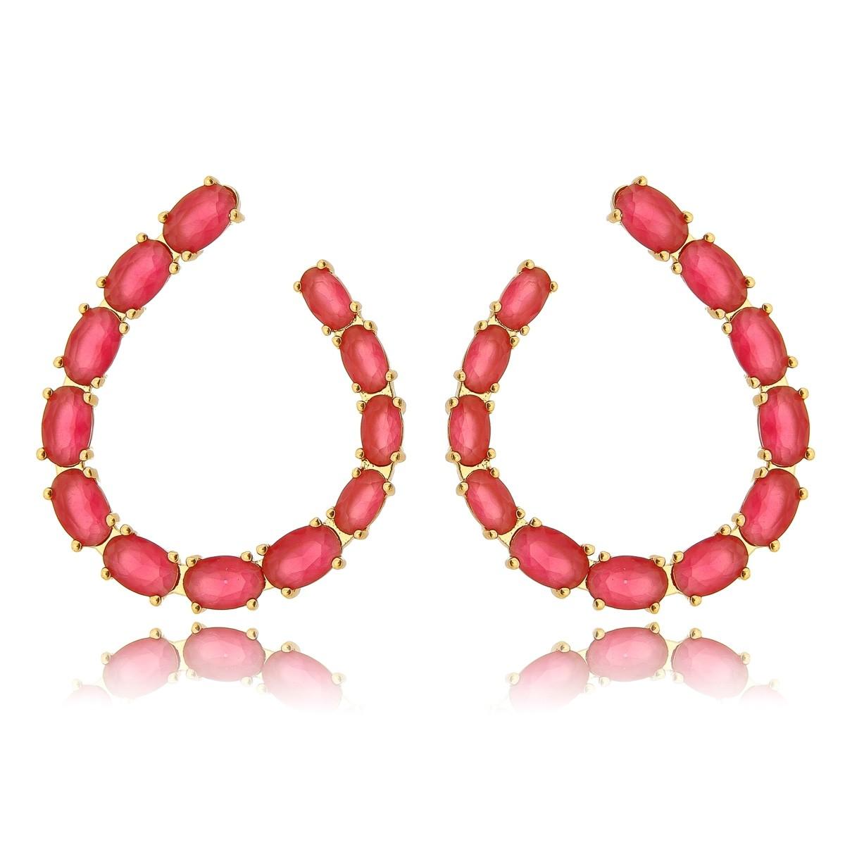 Brinco Rubi Rosa Semijoia em Ouro 18K com Zircônia Oval  - SOLOYOU