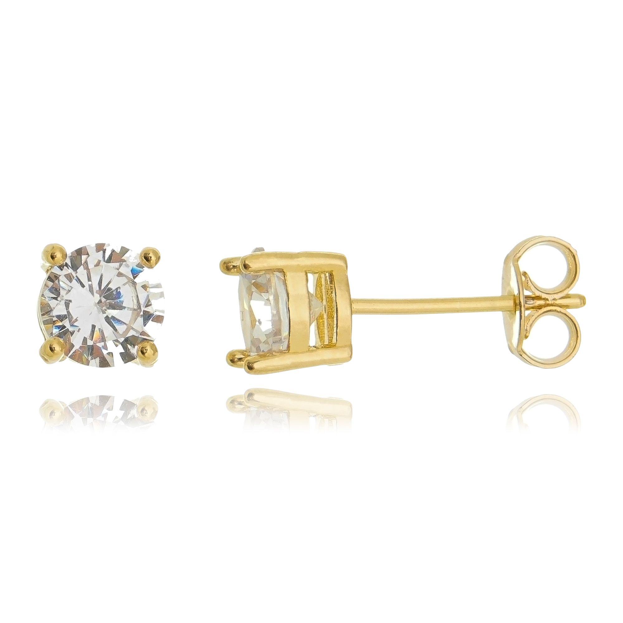 Brinco Solitário 6 mm Dourado Zircônia Cristal Redonda Semijoia Ouro 18K   - Soloyou