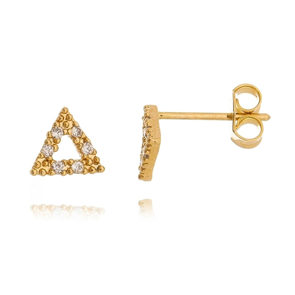 Brinco Triângulo Segundo Furo de Zircônia Cristal Semijoia em Ouro 18K  - SOLOYOU