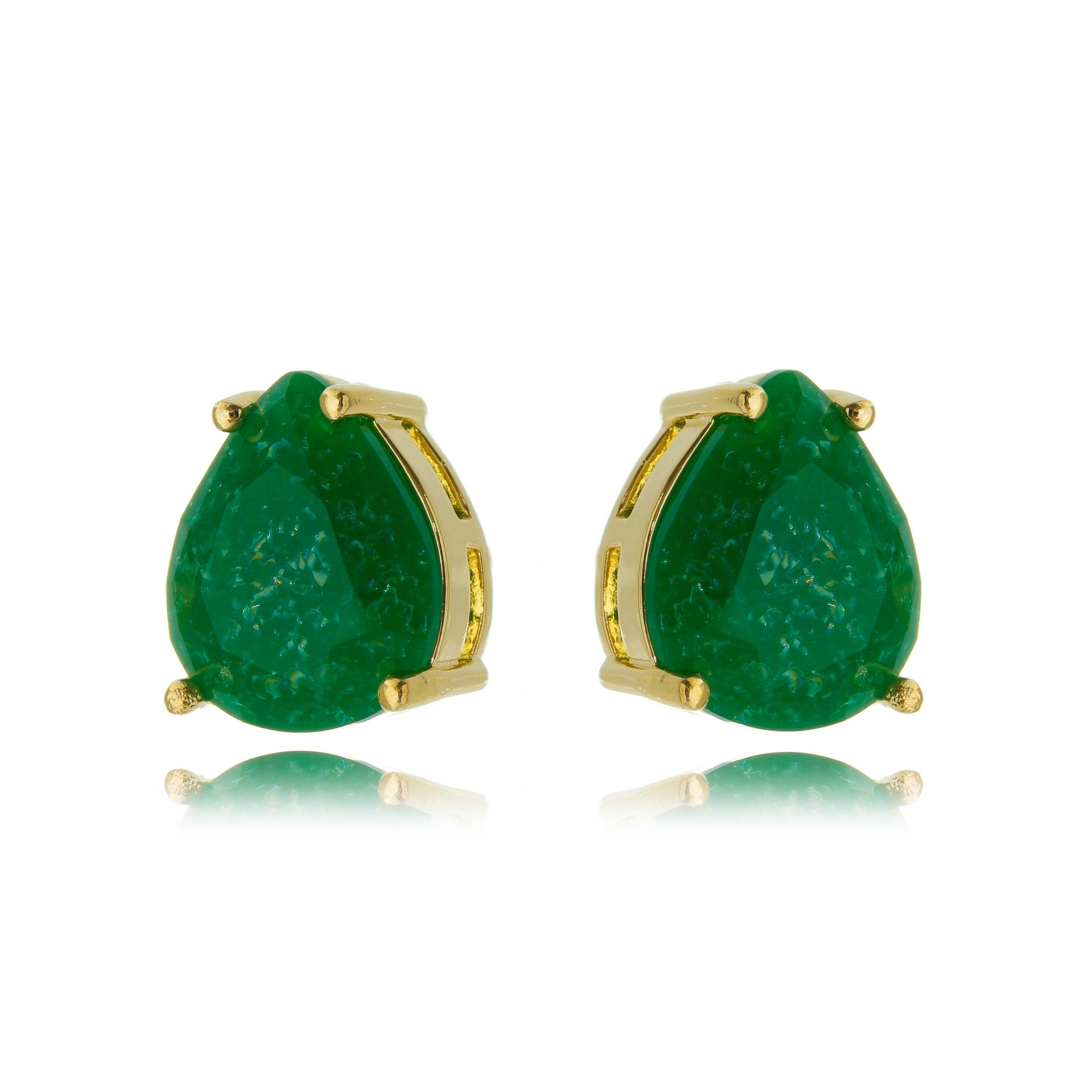 Brinco Verde Esmeralda Fusion Semijoia Ouro Gota 10 x 12 mm  - Soloyou