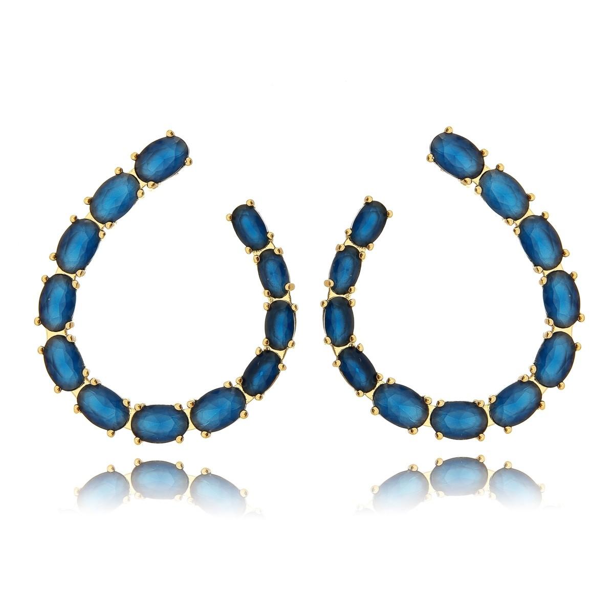 Brinco Zircônia Oval Azul Semijoia em Ouro 18K  - Soloyou