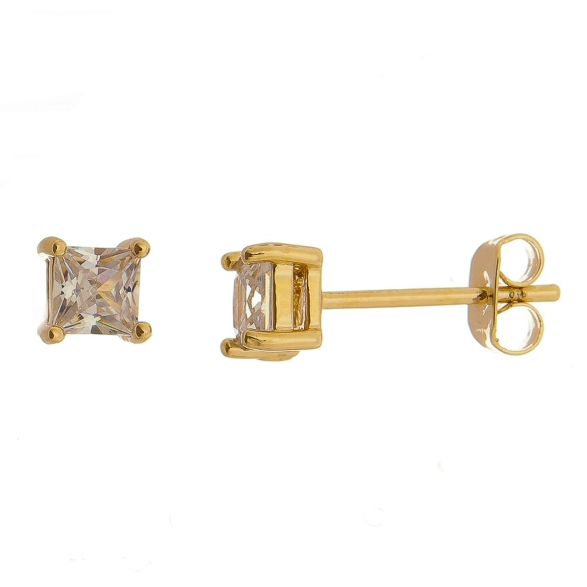 Brinquinho Dourado 5 mm Semijoia em Ouro 18K com Zircônia Branca  - Soloyou