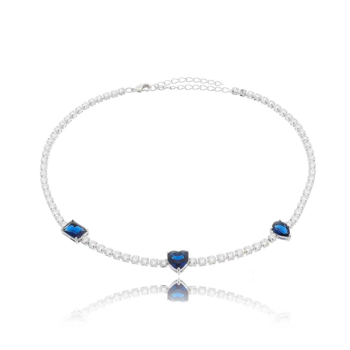 081f31d1949 Choker Riviera Pingentes Azul Safira Semijoia em Ródio Branco - Soloyou ...