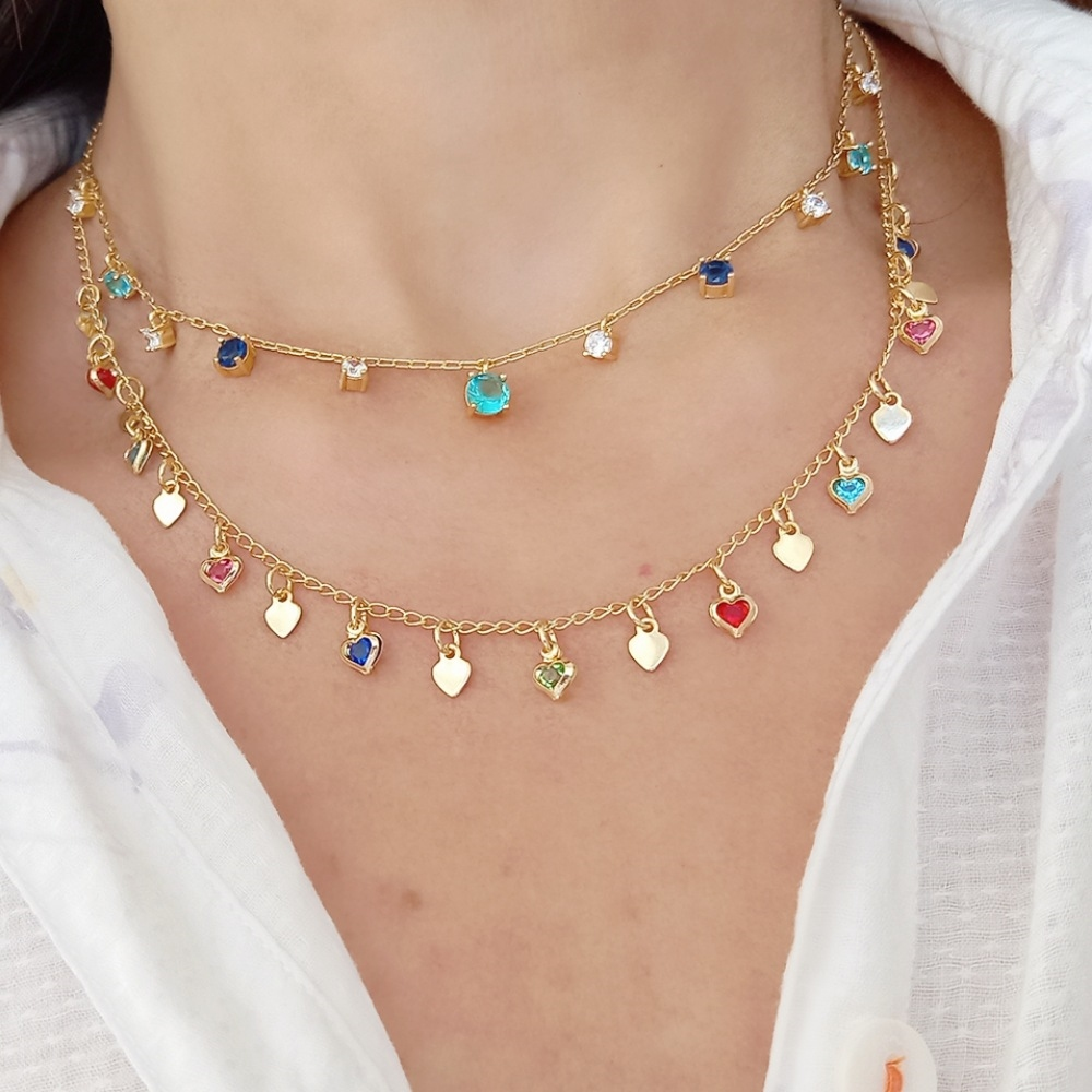 Choker Soloyou Fashion de Corações Coloridos Semijoia Ouro 18K  - Soloyou