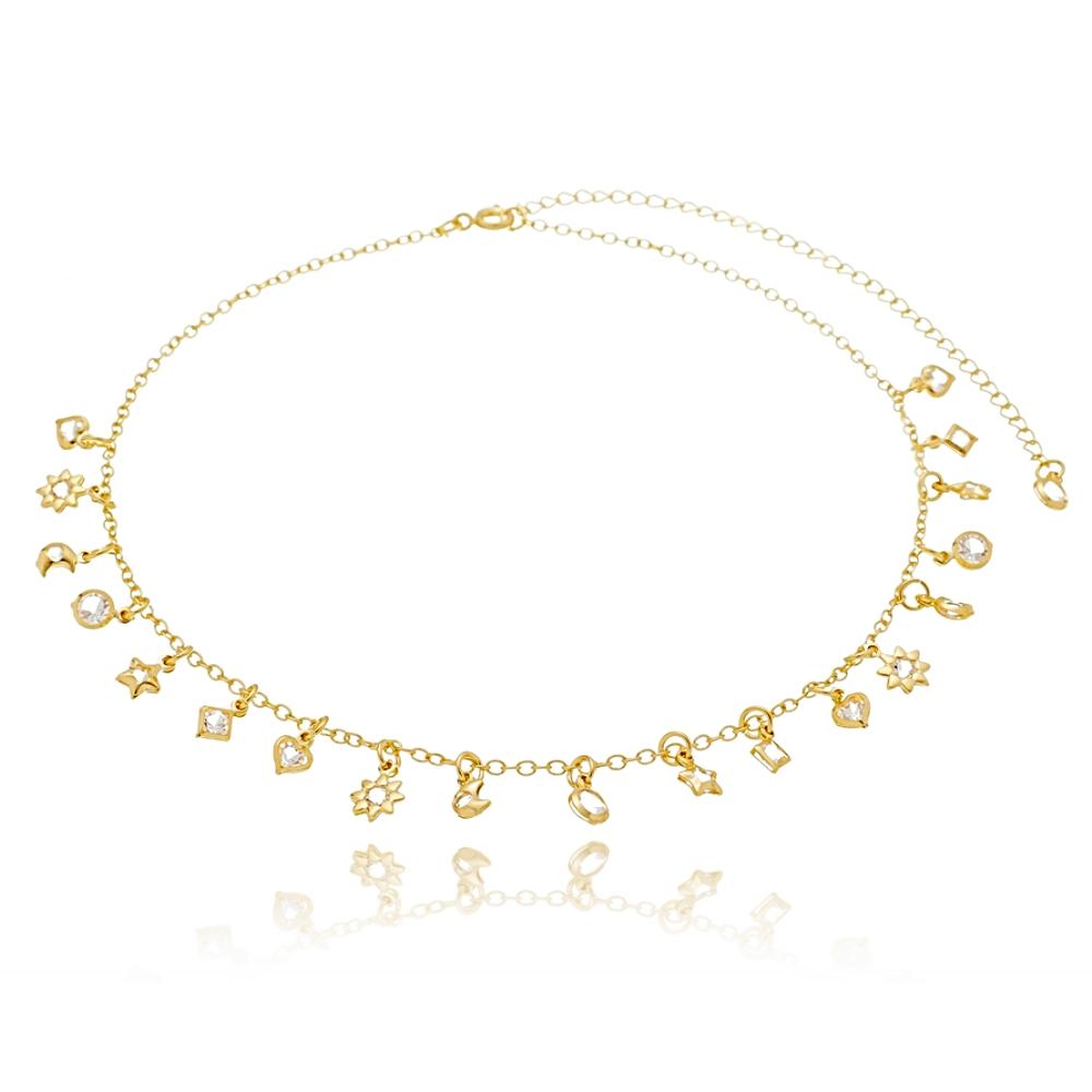 Choker Soloyou Fashion Pingentes de Zircônia Branca Semijoia Ouro 18K  - Soloyou