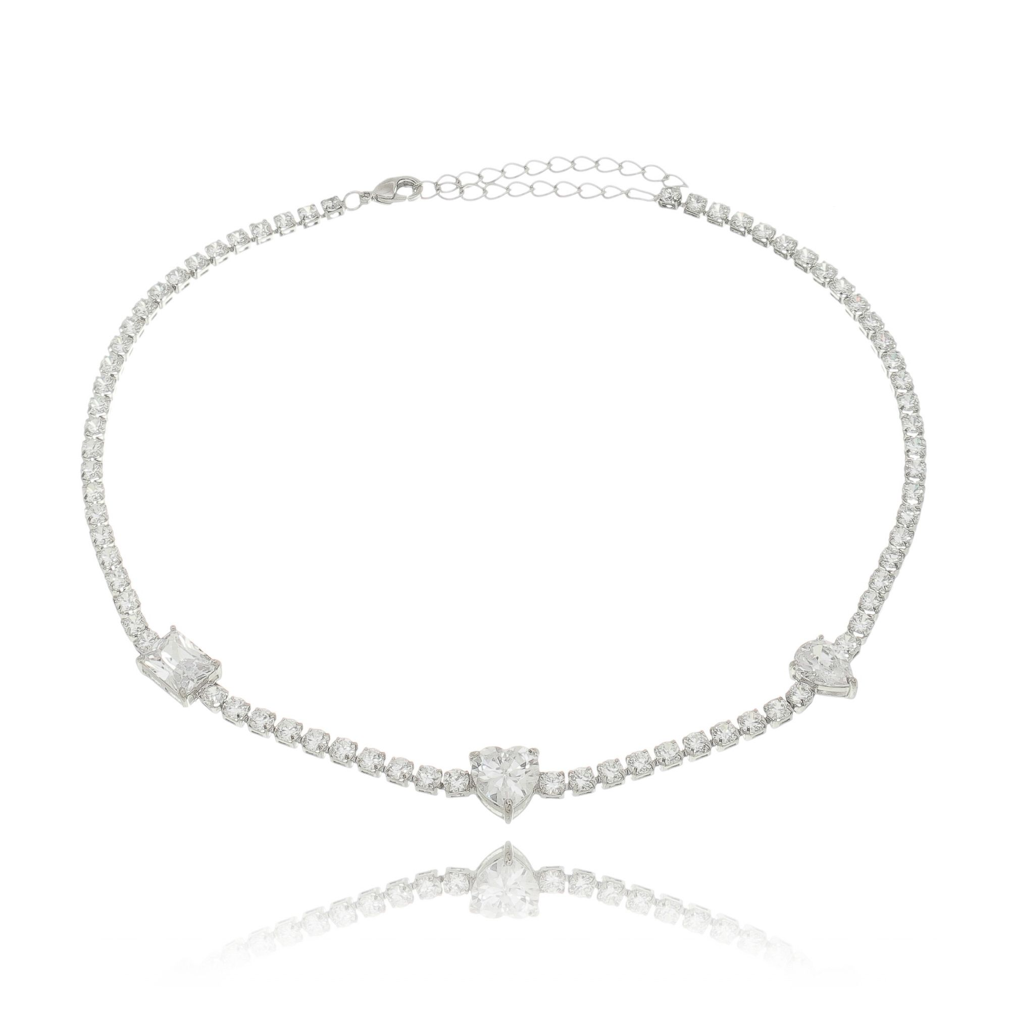 Choker Zircônia Cristal Riviera com Pingentes Semijoia Fina em Ródio Branco  - Soloyou