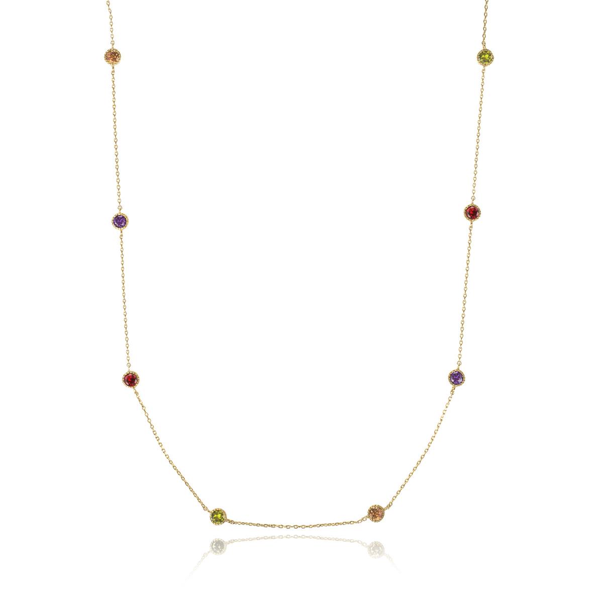 Colar 110 cm de Zircônia Colorida Redonda Semijoia em Ouro 18K  - Soloyou