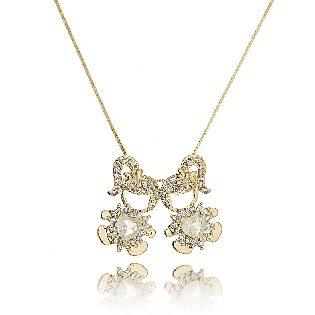 Colar 2 Meninas Dourado Fusion Cristal e Zircônia Semijoia Ouro 18K  - Soloyou