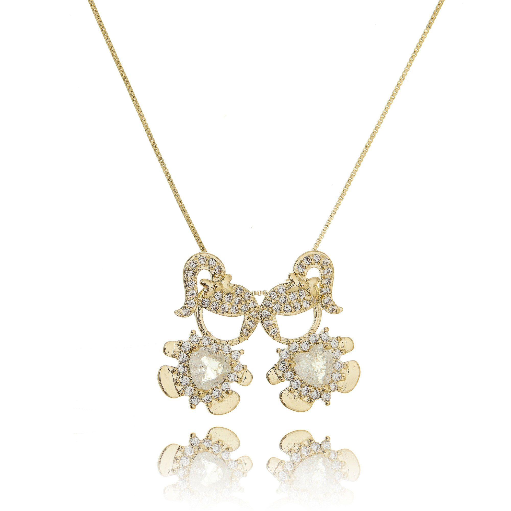 58c37d043d2e1 Colar 2 Meninas Dourado Fusion Cristal e Zircônia Semijoia Ouro 18K -  SOLOYOU ...