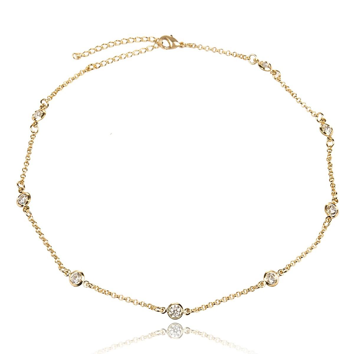 bfa0262bc505f Colar Choker Pontos de Luz Semijoia em Ouro 18K com Zircônia Branca  Brilhante Redonda - SOLOYOU ...