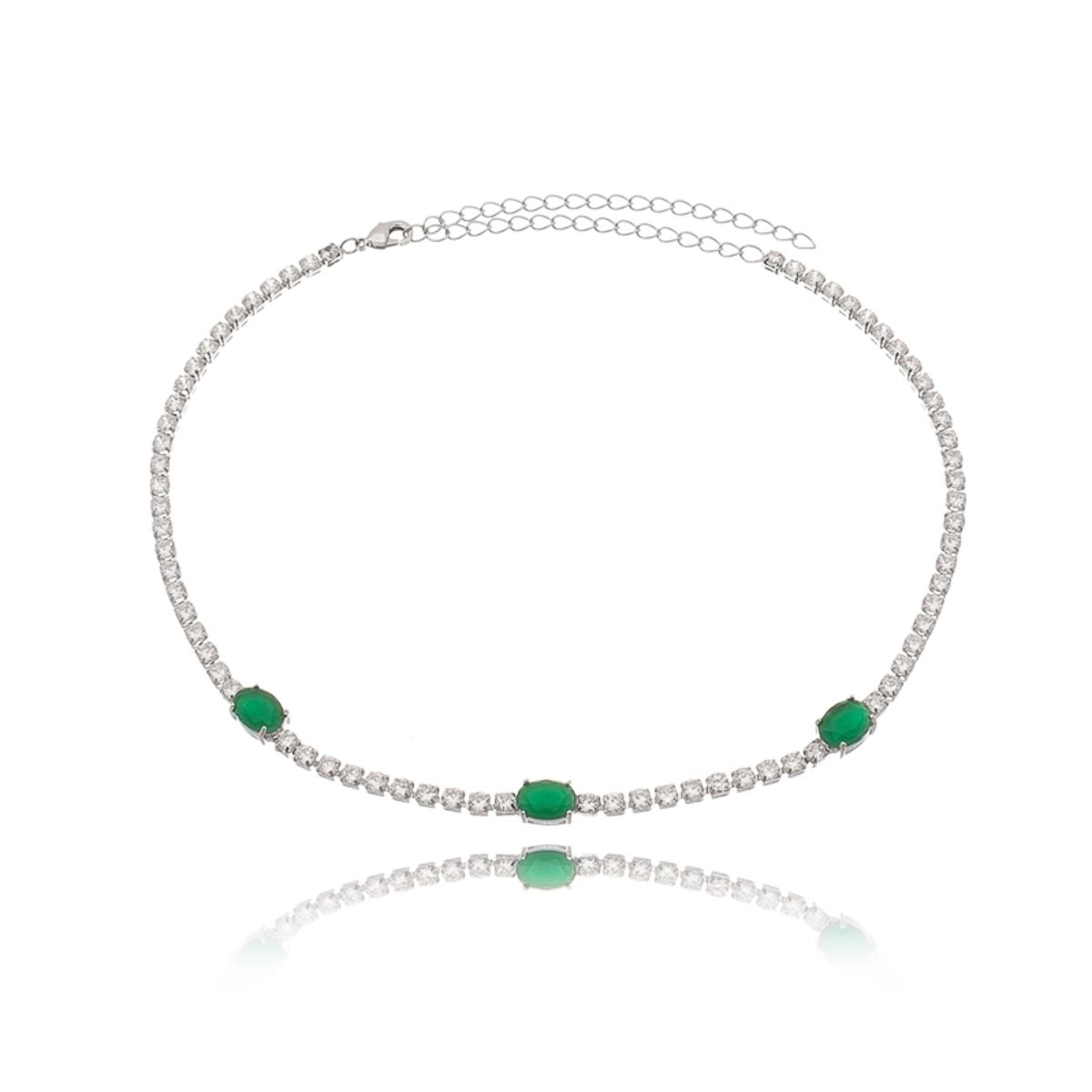 Colar Choker Riviera Esmeralda com Zircônia Branca Semijoia Fina em Ródio Branco  - Soloyou