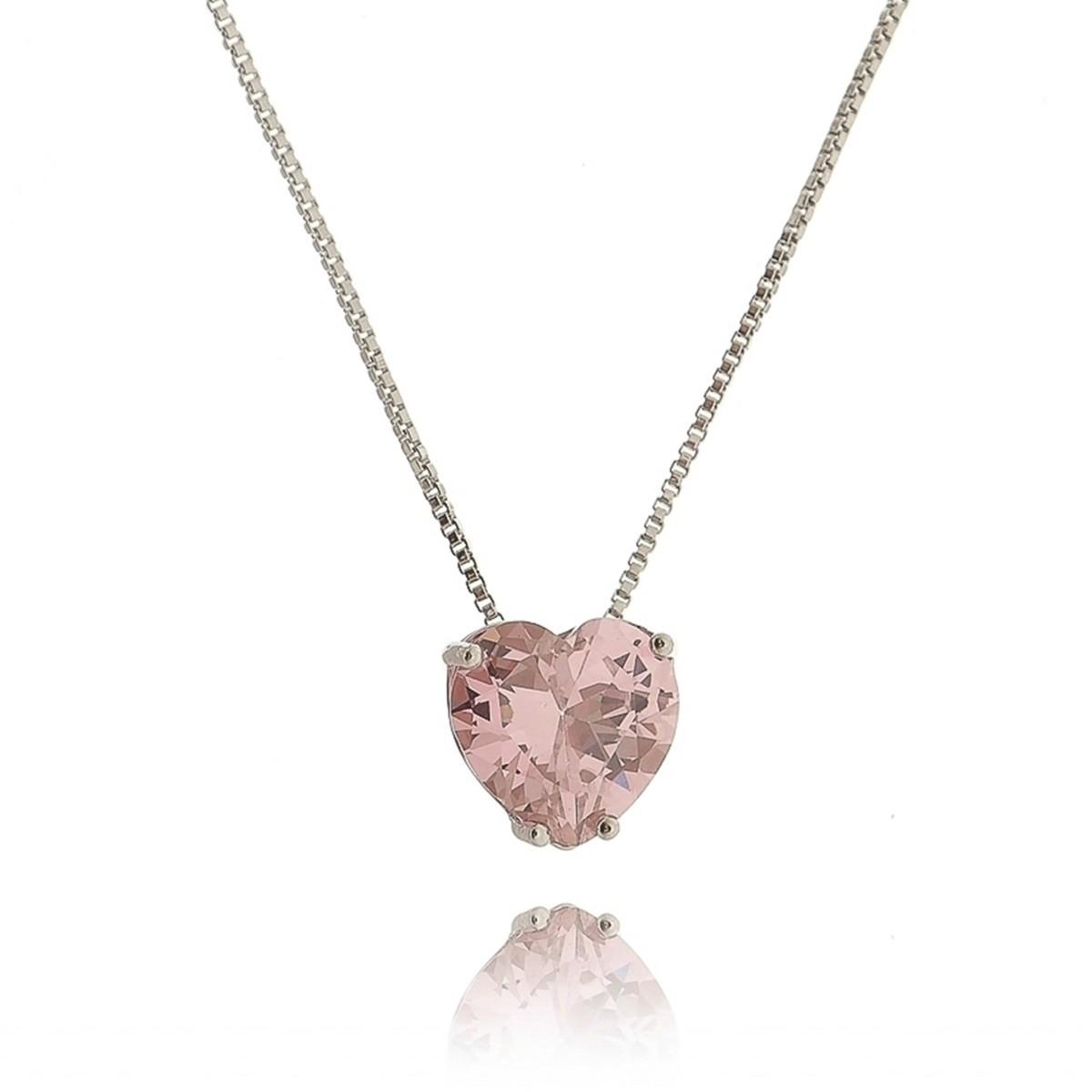 Colar com Pingente de Coração Cravejado Rosa 10 mm Semijoia Linda em Ródio Branco com Zircônia  - SOLOYOU