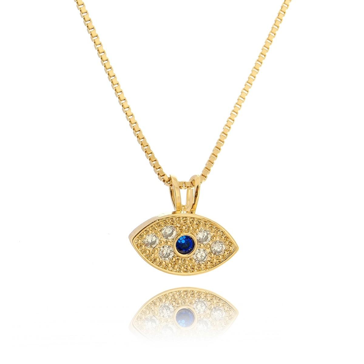 Colar com Pingente Olho Grego Semijoia em Ouro 18K com Zircônias Branca e Azul  - SOLOYOU