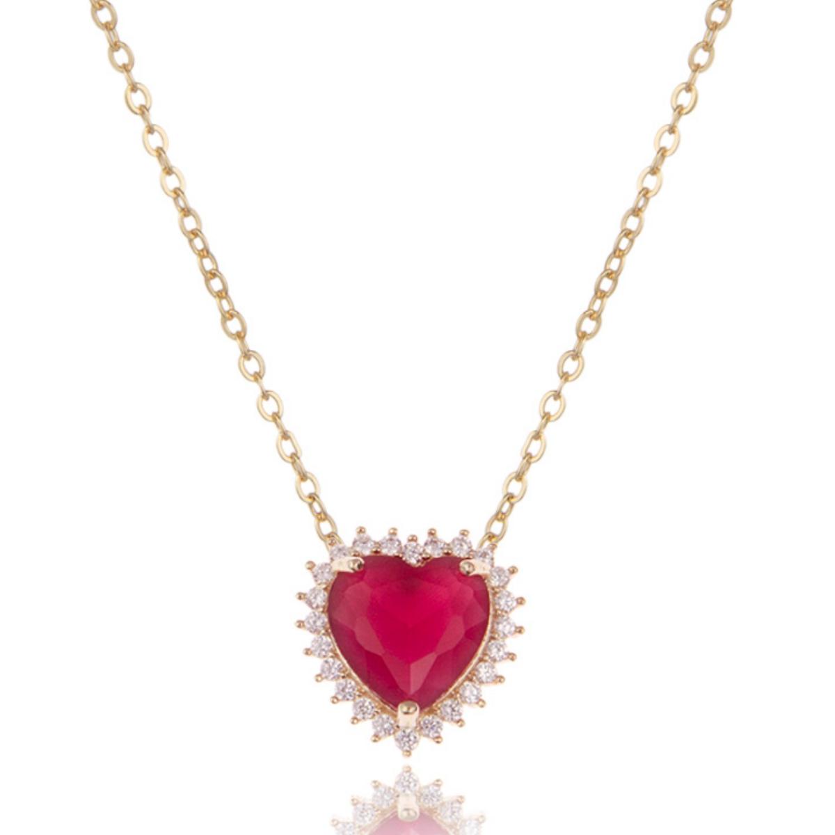 Colar Duplo Coração Luxo de Zircônias Rubi e Branca Semijoia em Ouro 18K  - Soloyou