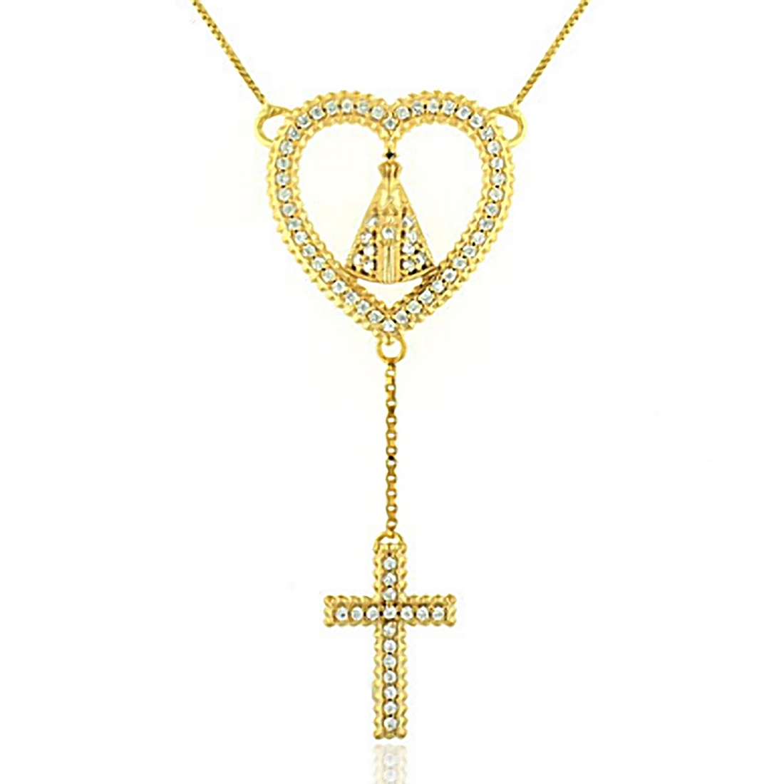 Colar Coração Nossa Senhora Aparecida Semijoia em Ouro 18K com Micro Zircônia Branca  - Soloyou