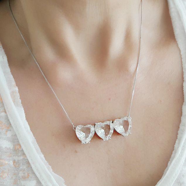Colar Corações de Zircônia Branca Brilhante Semijoia Luxuosa em Ródio Branco  - Soloyou