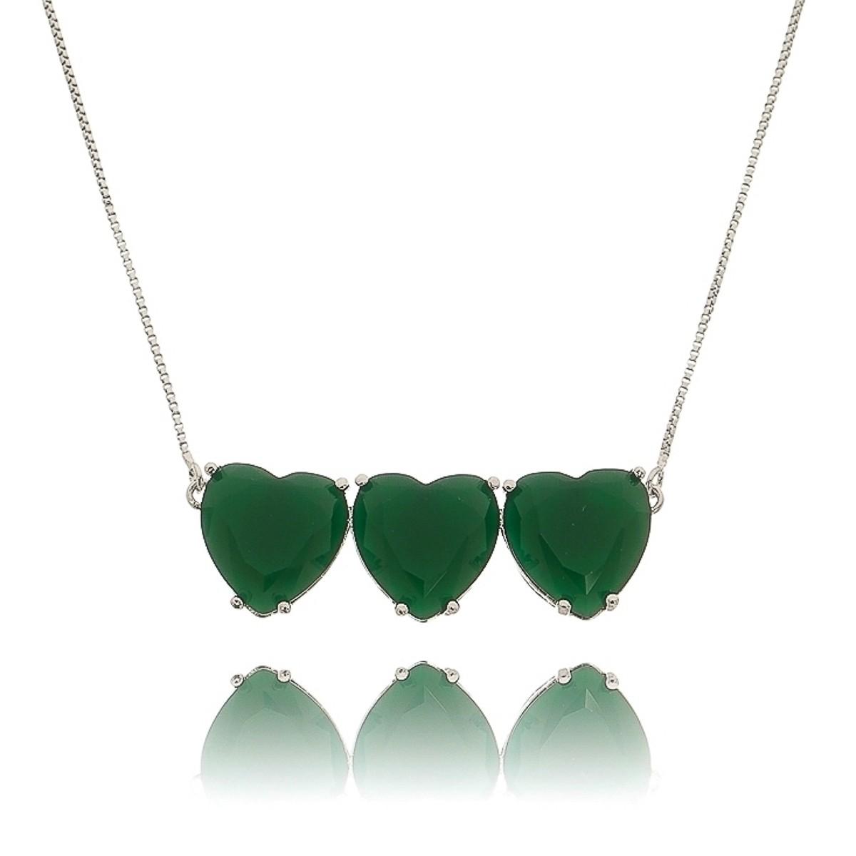 Colar Corações Prata Verde Esmeralda Semijoia Fina em Ródio Branco  - Soloyou