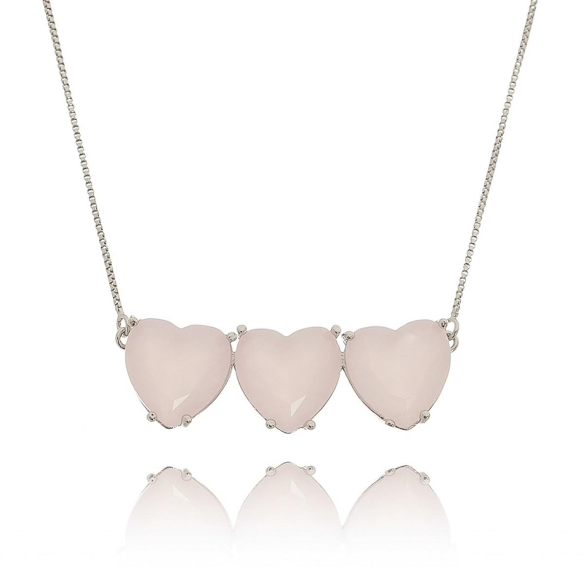 Colar Corações Quartzo Rosa Leitoso Semijoia em Ródio Branco  - Soloyou