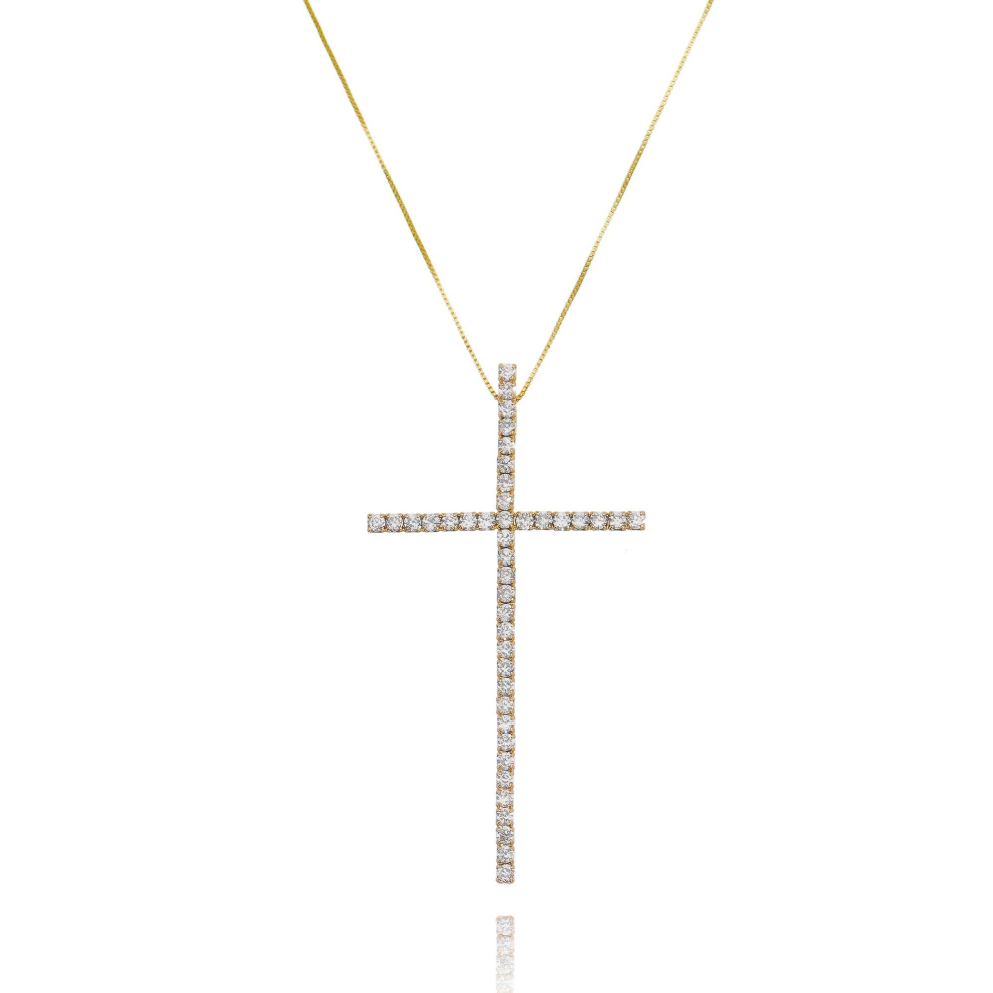 Colar Crucifixo Celebridades Zircônia Branca Grande Semijoia Ouro  - Soloyou
