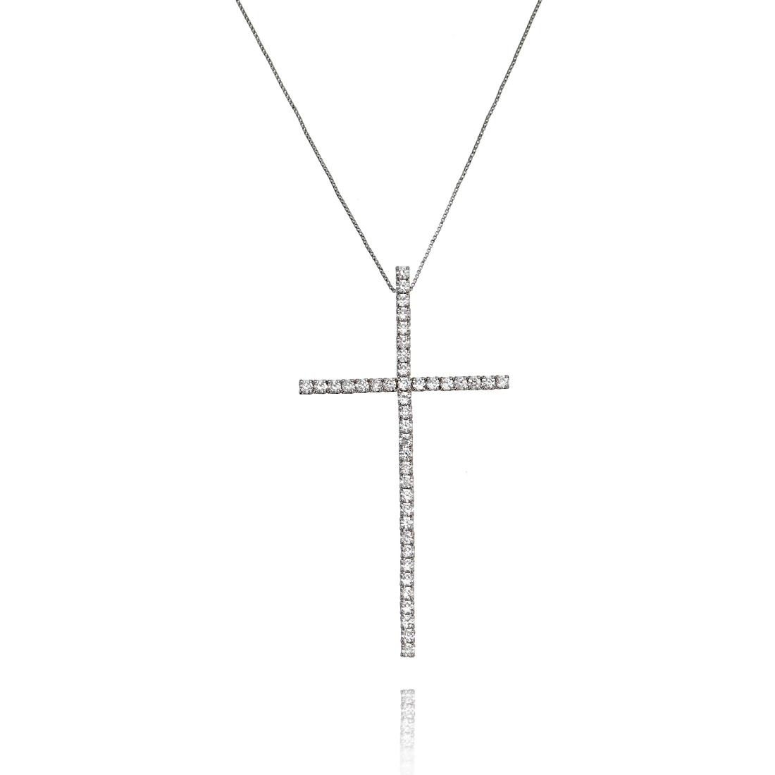 Colar Crucifixo Grande Branco Zircônia Semijoia Ródio Branco  - Soloyou