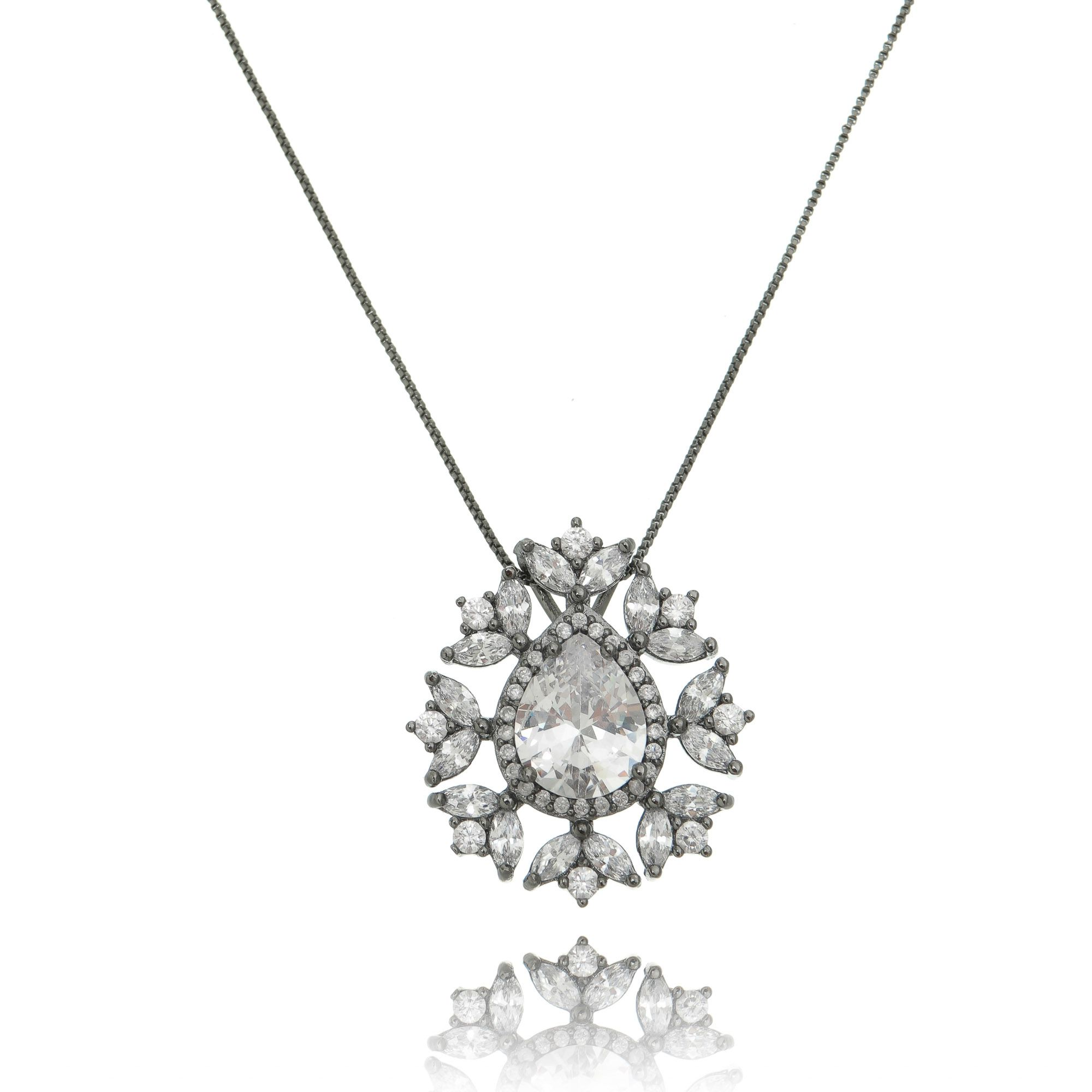 Colar de Gota Zircônia Cristal Semijoia Luxuosa em Ródio Negro  - Soloyou