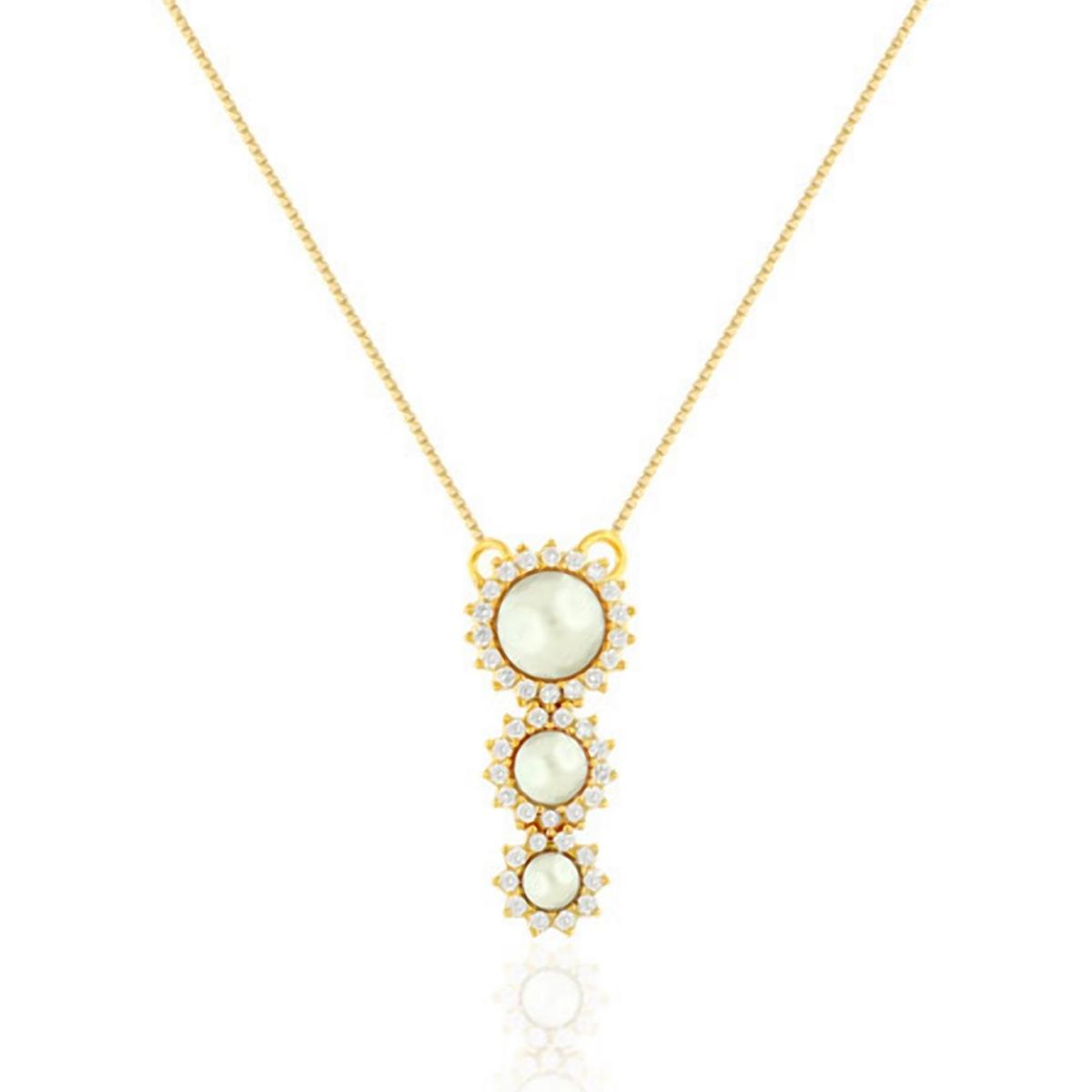 Colar de Pérolas Shell e Zircônia Branca Semijoia em Ouro 18K  - Soloyou