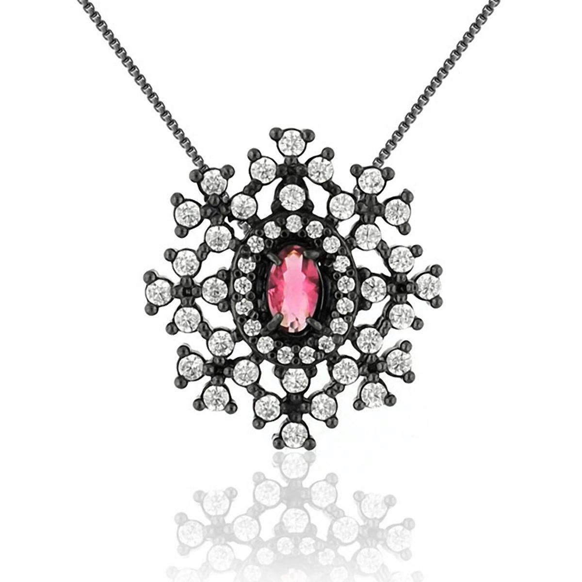 Colar de Pingente Flor Semijoia em Ródio Negro com Zircônias Branca e Cristal Rubi  - SOLOYOU