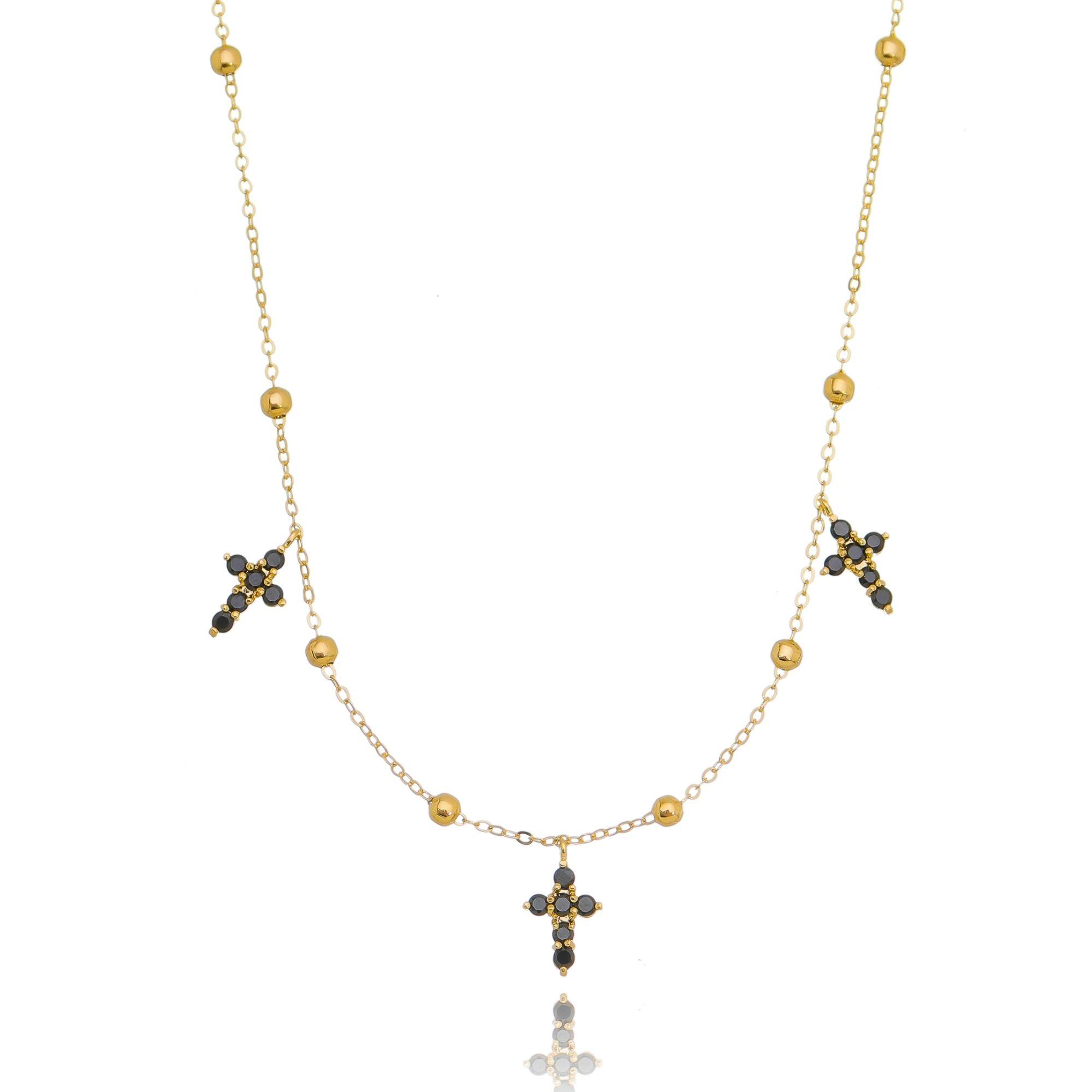 Colar Delicado Crucifixos Zircônia Preta Semijoia Ouro  - Soloyou