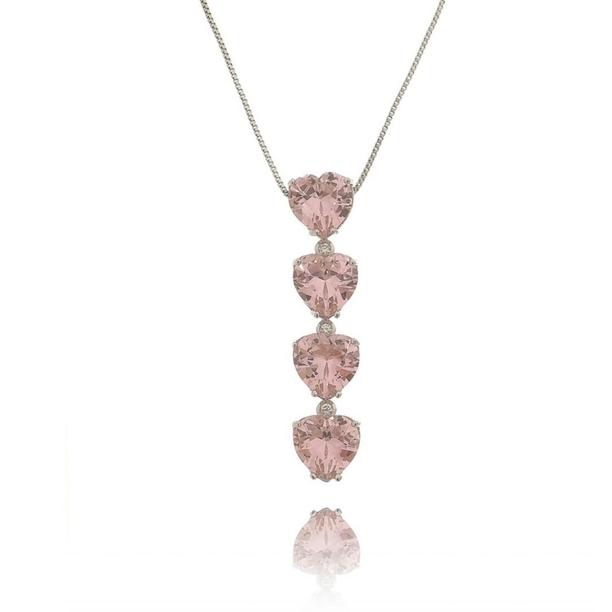 Colar Delicado Gravatinha de Coração Rosa Semijoia Exclusiva Ródio Branco com Zircônia Branca  - Soloyou