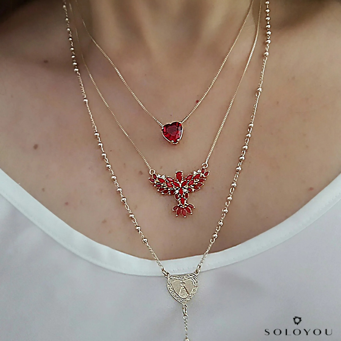 Colar Espírito Santo Navete Semijoia Ouro 18K com Cristal Ágata Vermelha e Zircônia Branca  - Soloyou