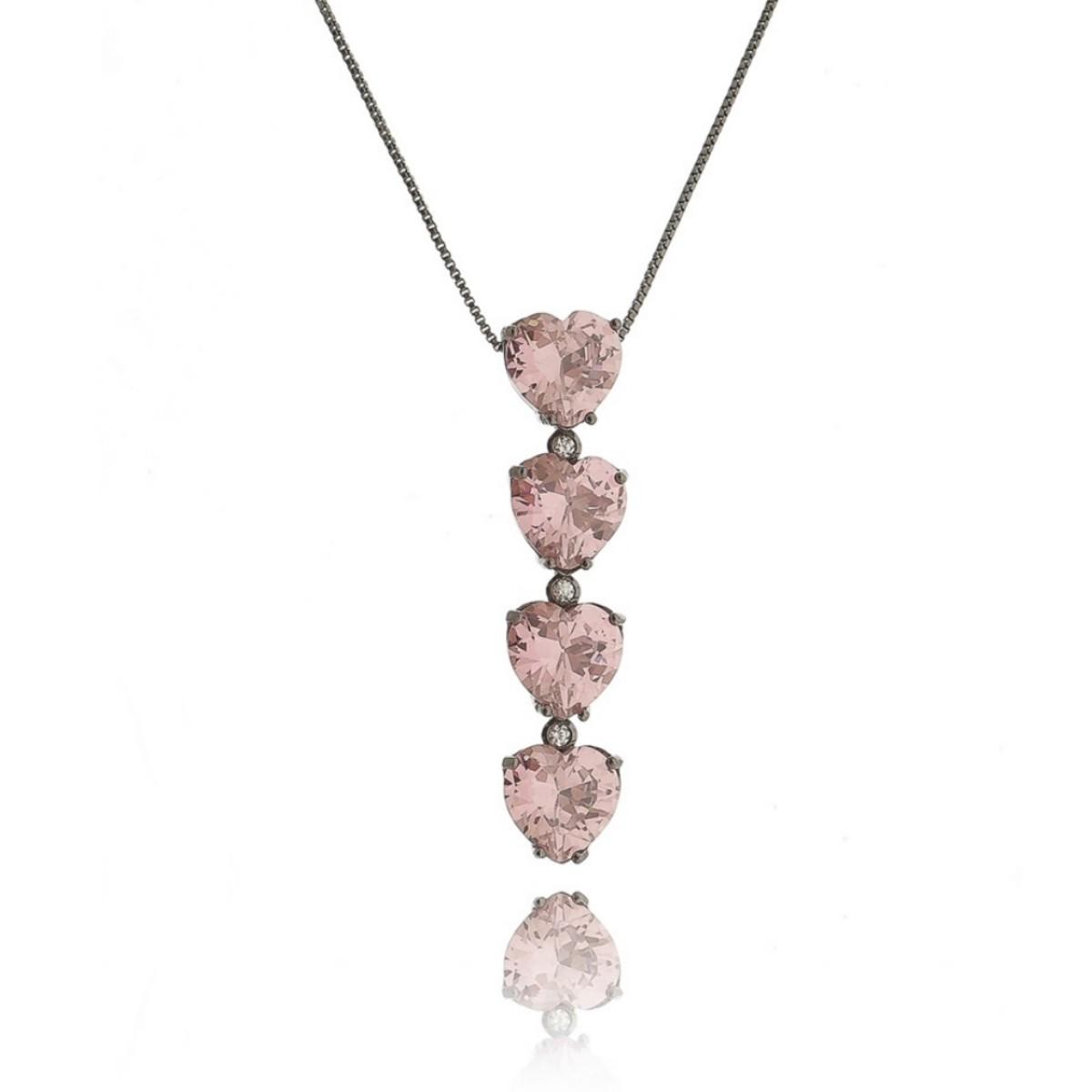 Colar Estilo Gravatinha Coração Rosa Exclusivo Semijoia Luxo em Ródio Negro com Zircônia Cristal  - Soloyou