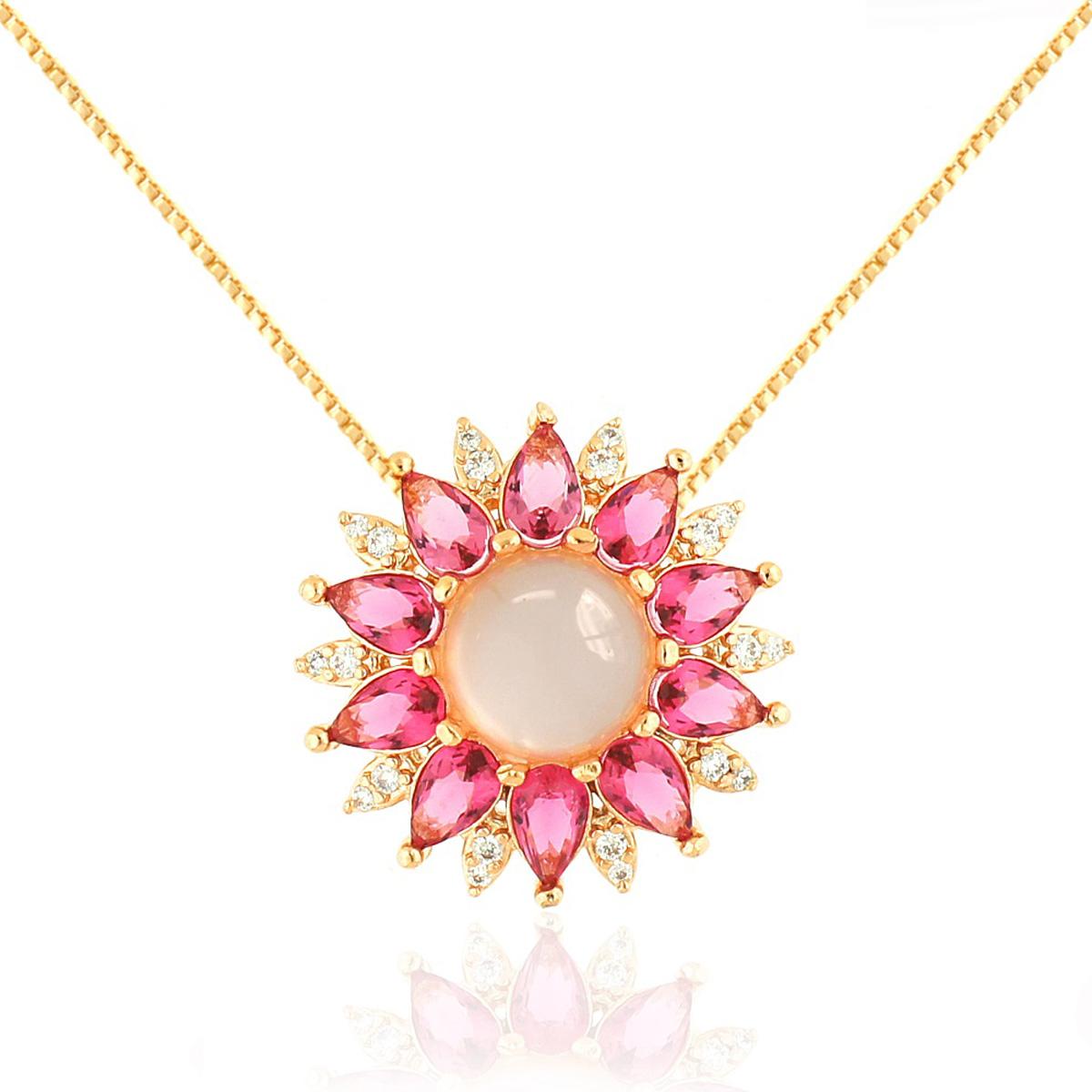 Colar Flor Cabochão Semijoia em Ouro Rosé 18K com Zircônia Branca e Cristal Rosa Safira  - Soloyou