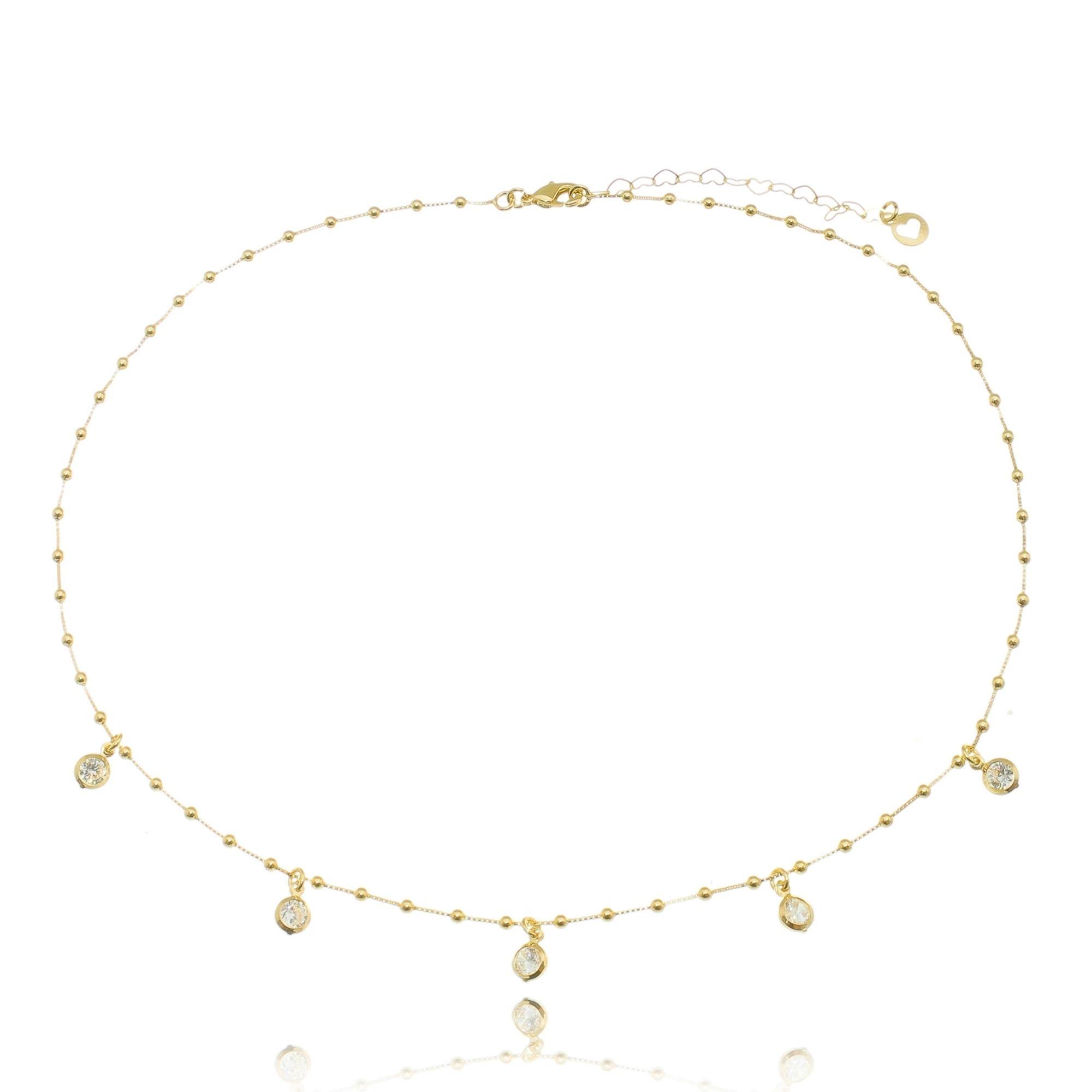 Colar Gargantilha da Moda de Bolinhas e Pingentes Zircônia Branca Semijoia Ouro 18K  - Soloyou