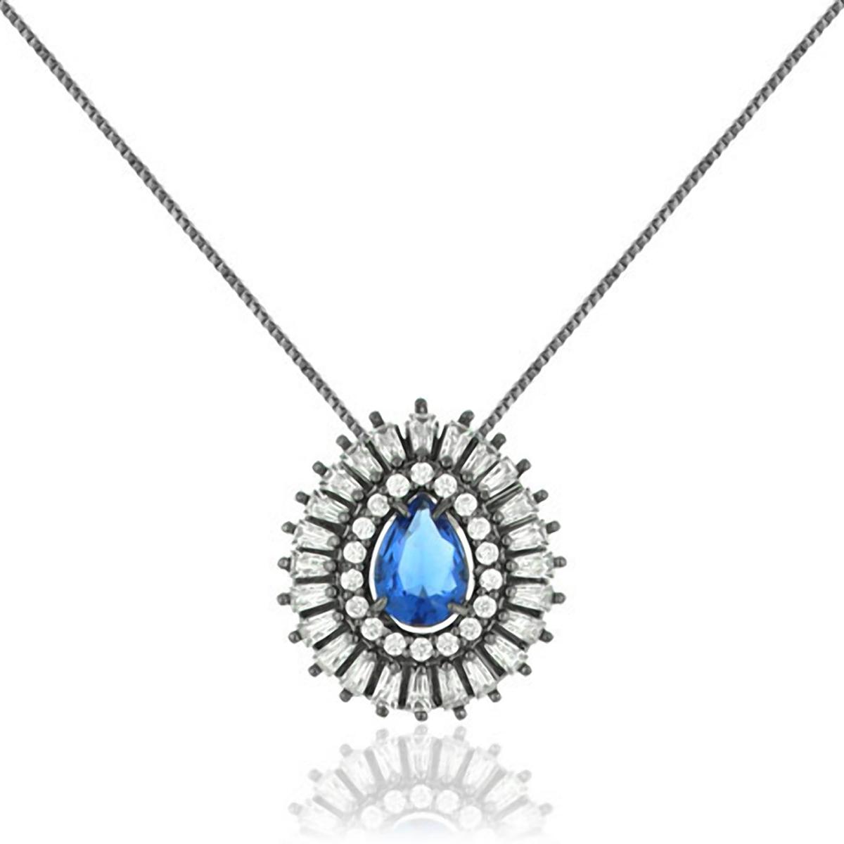 Colar Gota Azul Safira Semijoia em Ródio Negro com Zircônia e Cristal  - SOLOYOU