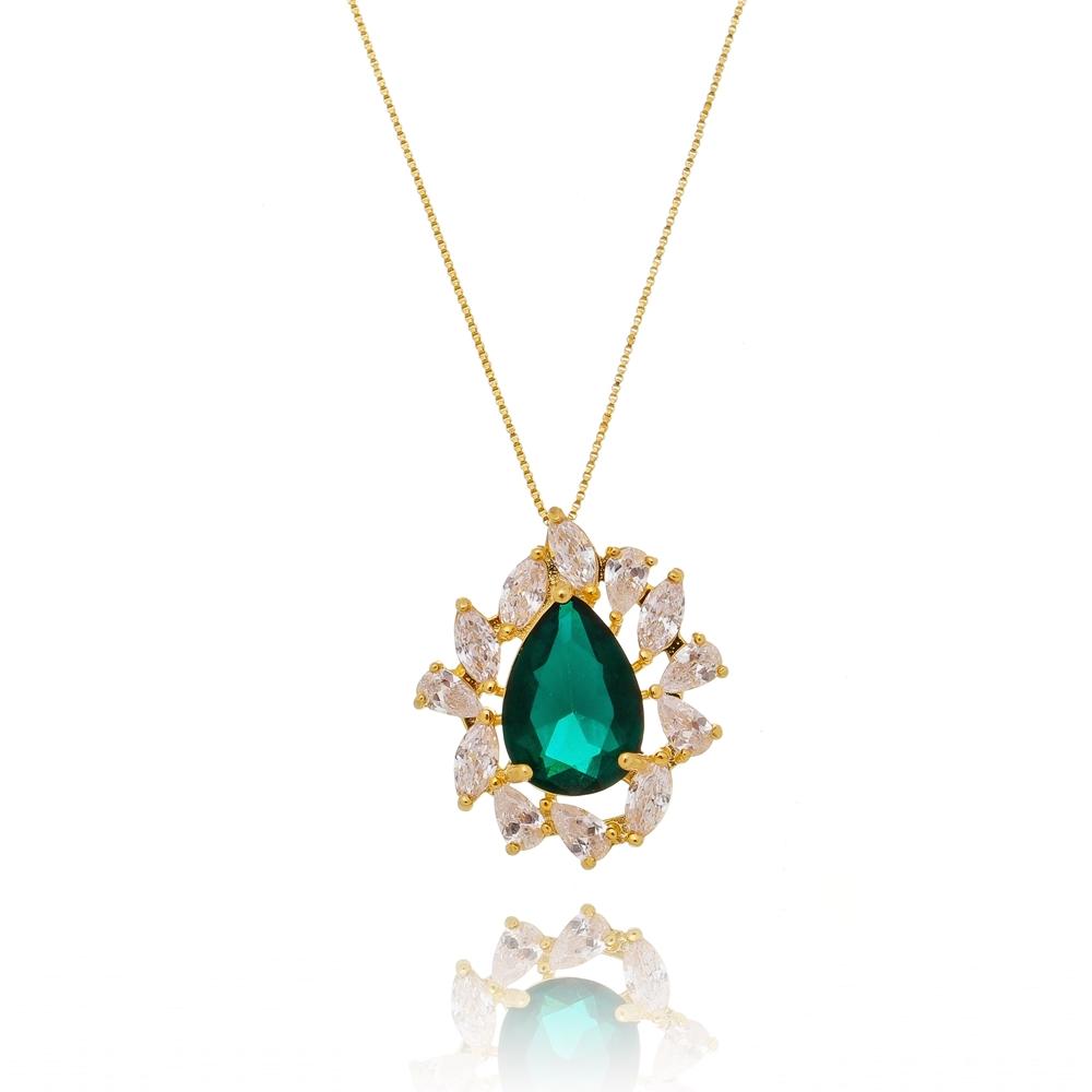 Colar Gota Esmeralda e Zircônia Cristal Semijoia Ouro 18K  - Soloyou