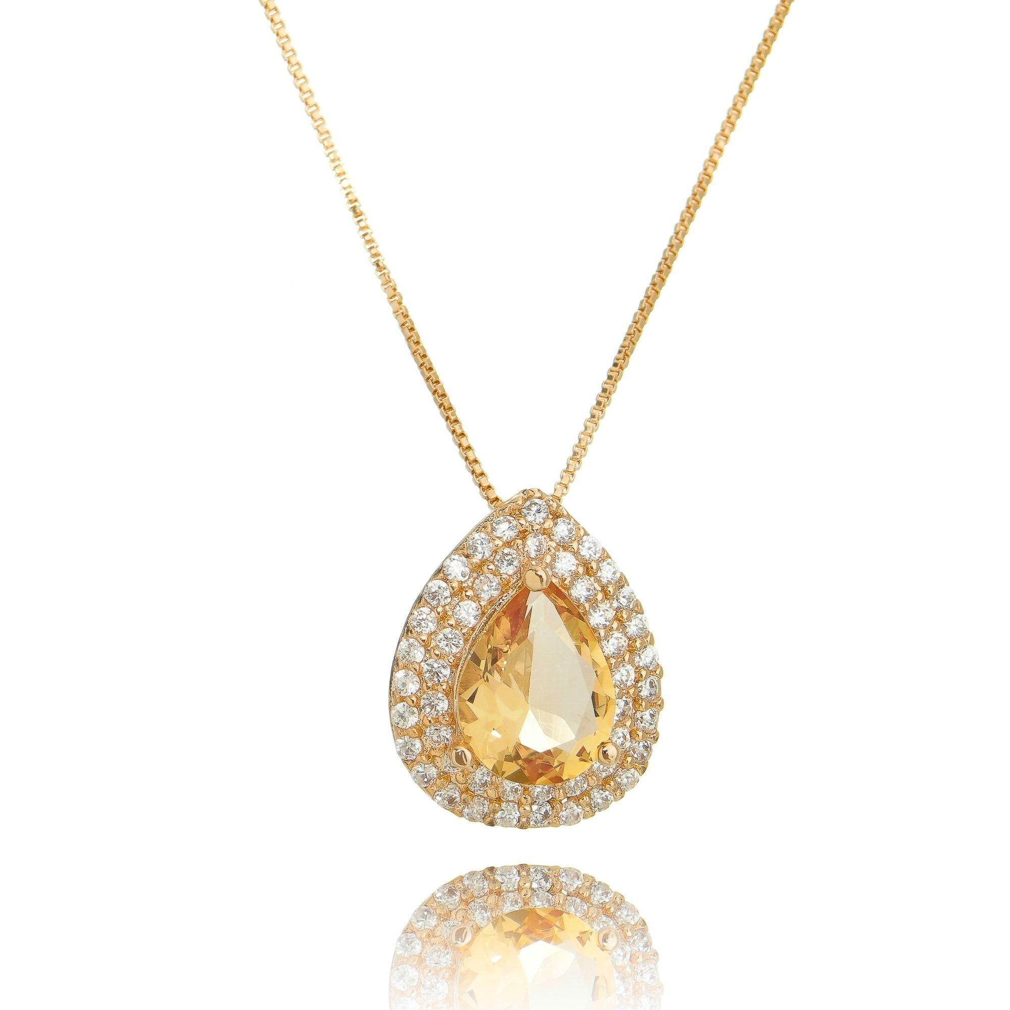 Colar Gota Morganita Ouro Rosé 2 Molduras Zircônia Cristal Semijoia  - Soloyou