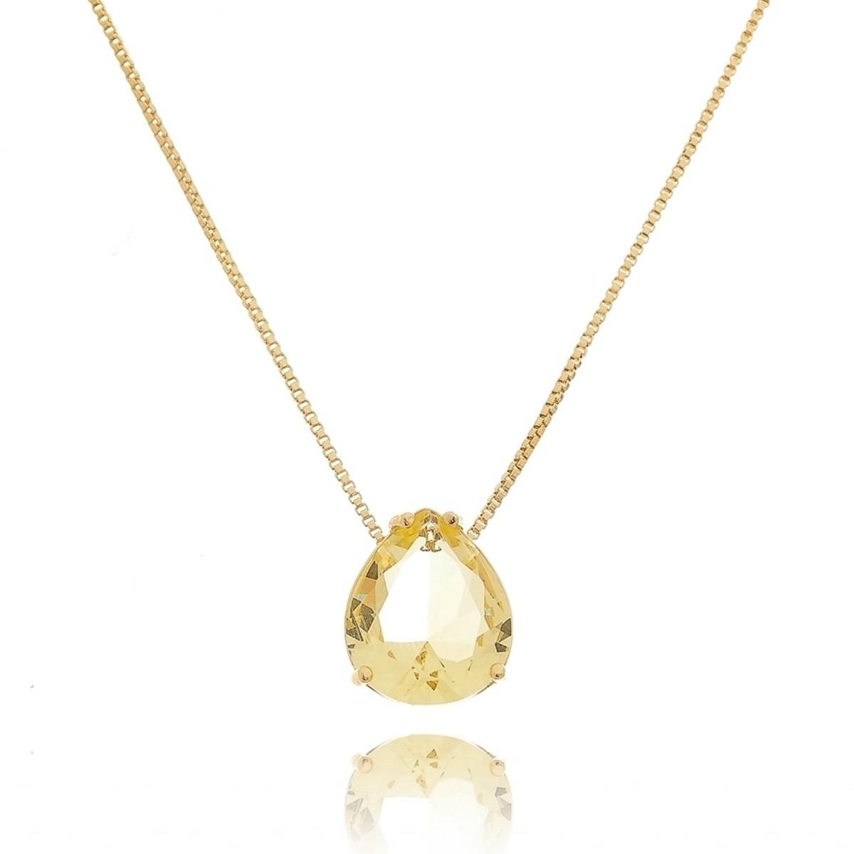 Colar Gota Zircônia Fancy Yellow 11 x13 mm Semijoia de Luxo em Ouro 18K  - Soloyou