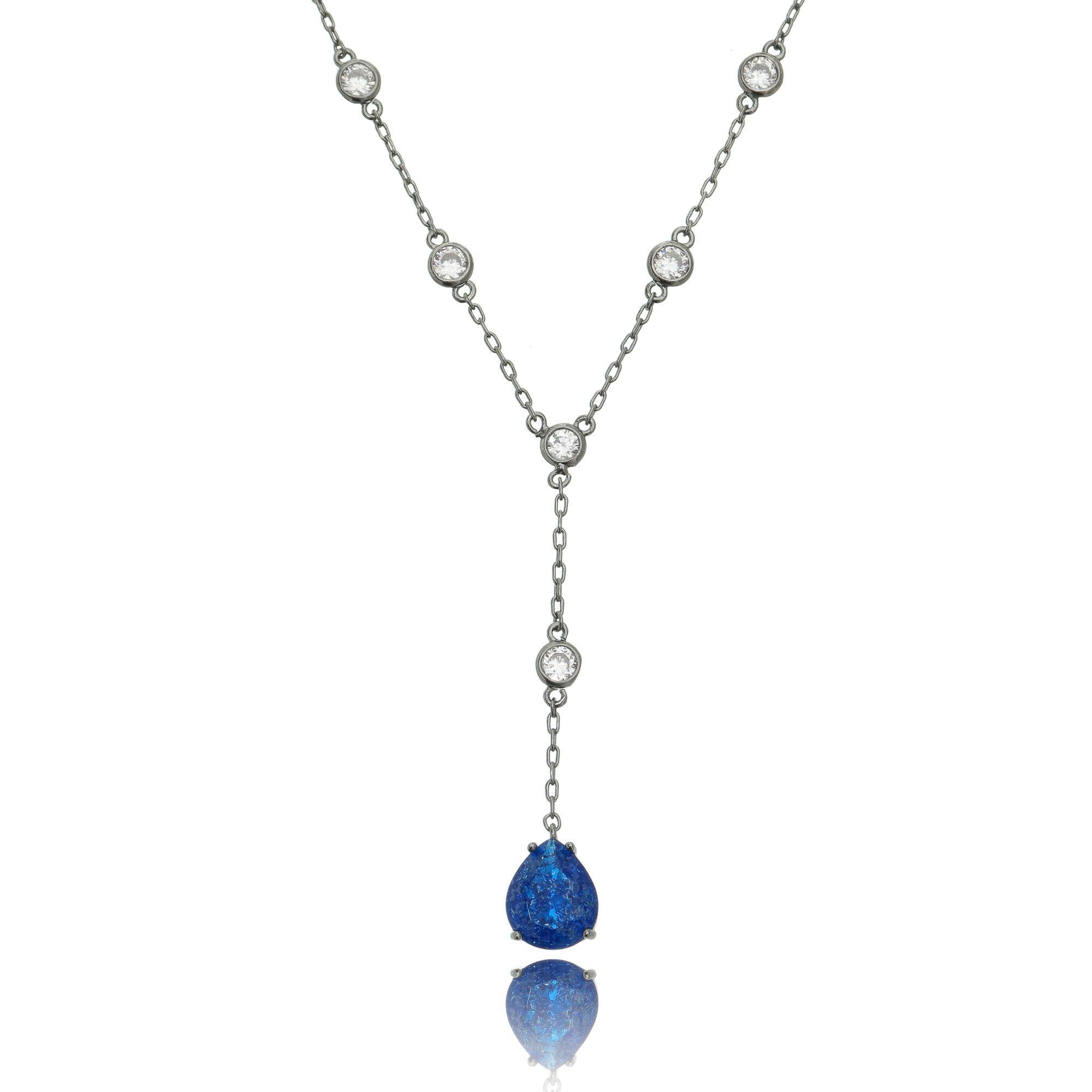Colar Gravatinha Azul Safira Fusion e Zircônia Cristal Semijoia Luxo Ródio Negro  - Soloyou