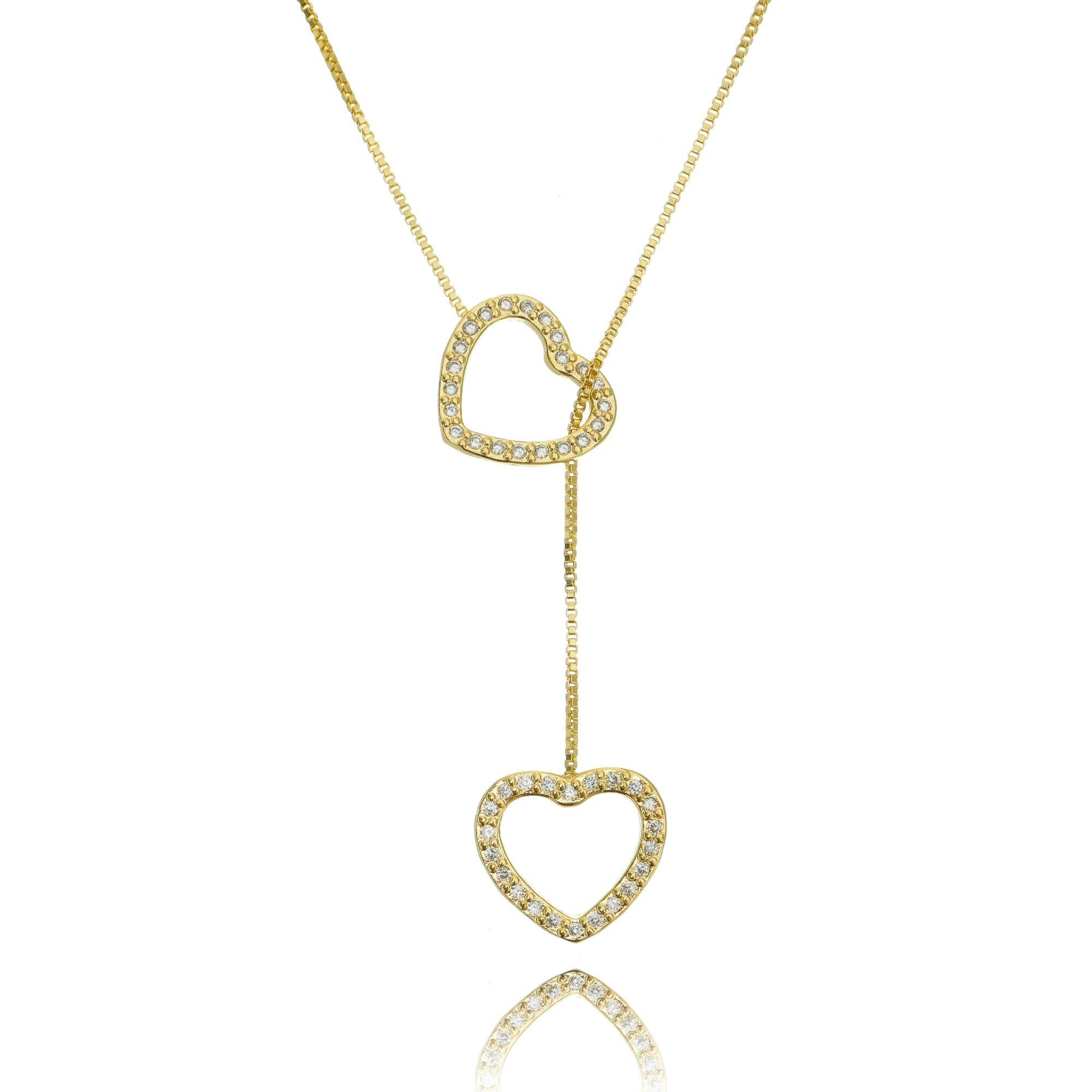 Colar Gravatinha Corações Cravejado Zircônia Cristal Semijoia Fashion Ouro  - Soloyou
