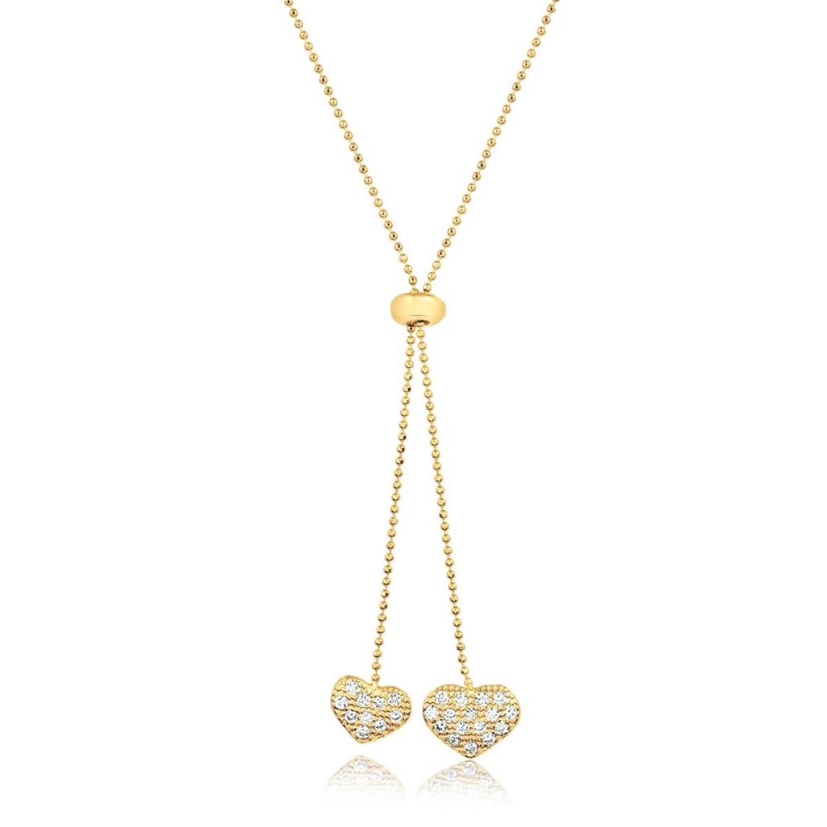 Colar Gravatinha de Coração Regulável Semijoia em Ouro 18K com Zircônia Branca  - Soloyou