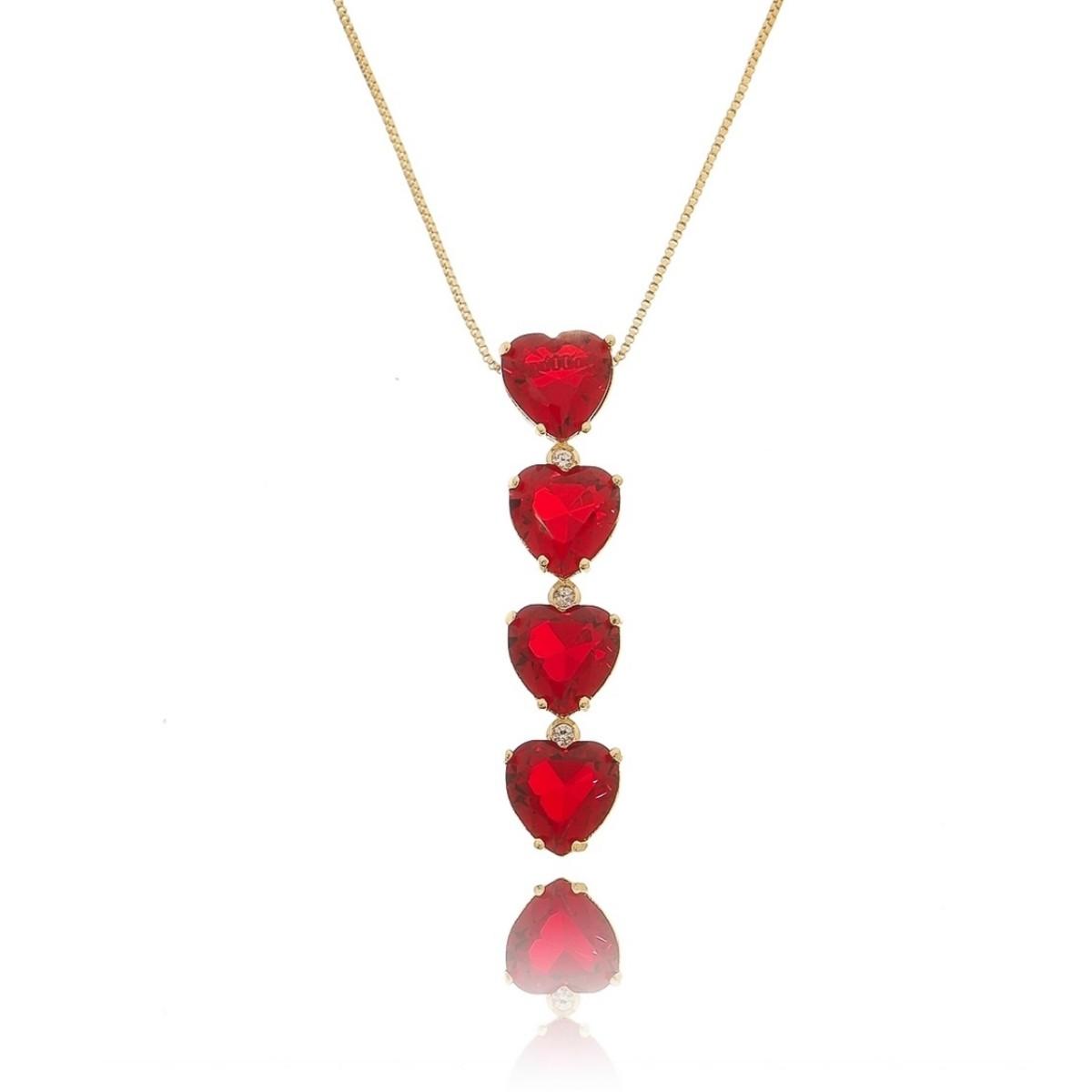 Colar Gravatinha Dourado Coração Rubi Vermelho Semijoia em Ouro 18K com Zircônia Branca Brilhante  - Soloyou