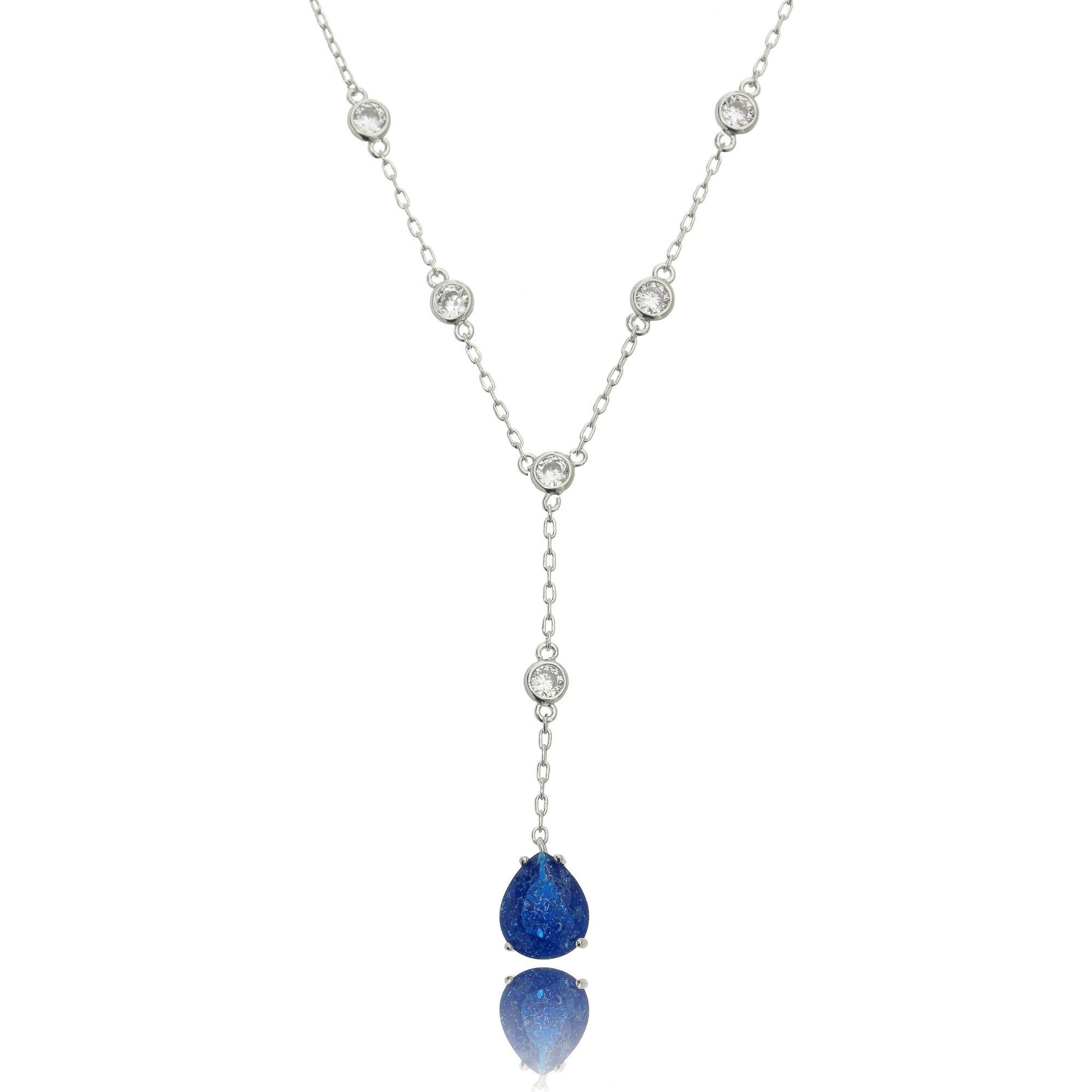 Colar Gravatinha Pedra Fusion Azul Safira Corrente Pontos de Luz Semijoia Ródio Branco  - Soloyou