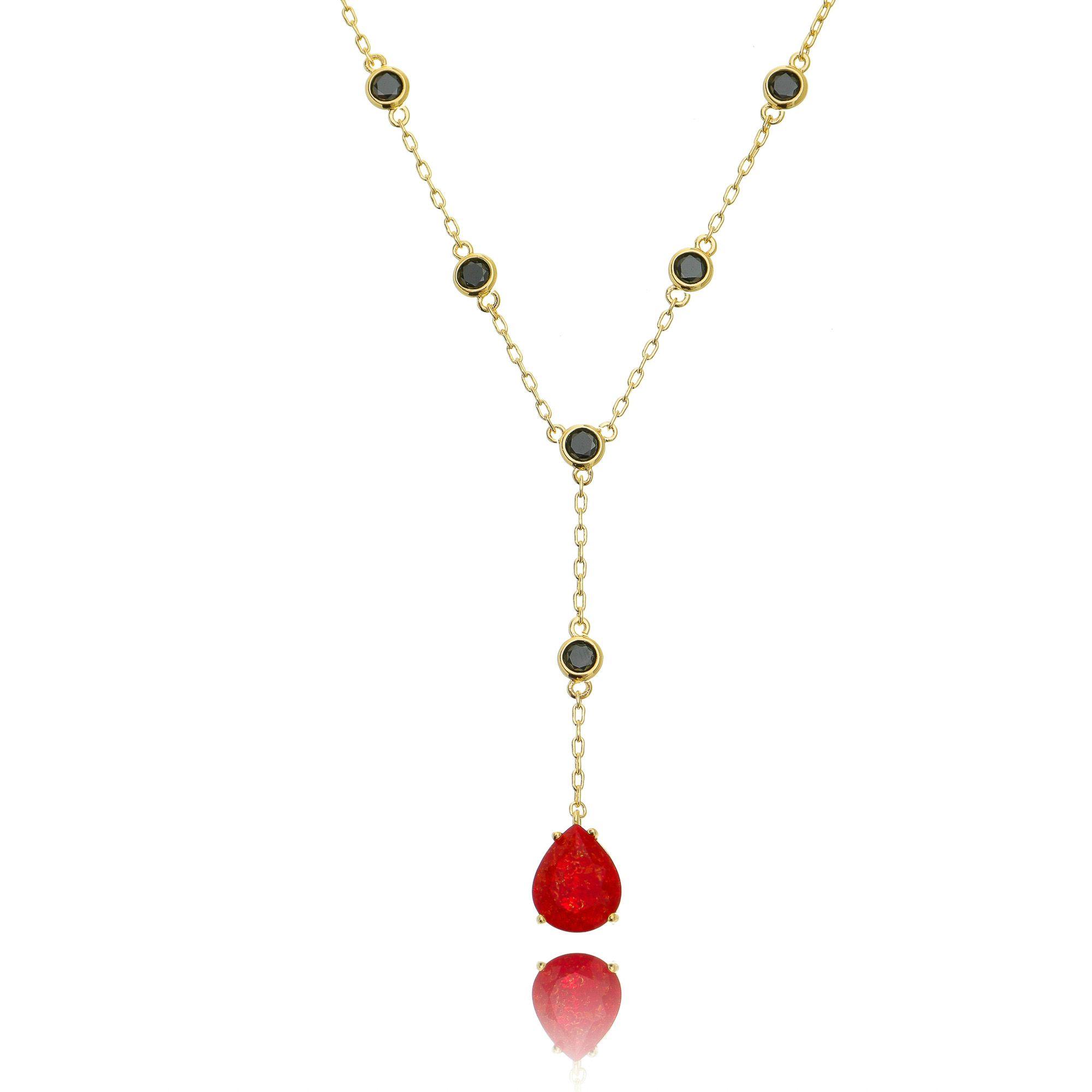 Colar Gravatinha Gota Vermelha Pedra Fusion e Zircônia Negra Semijoia Ouro  - Soloyou
