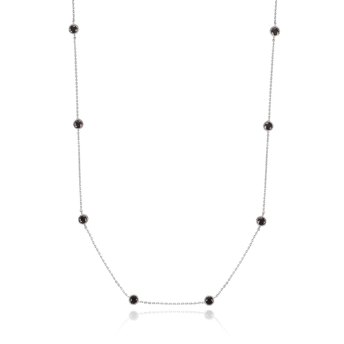 Colar Longo de Zircônia Redonda Ônix Semijoia em Ródio Branco  - SOLOYOU